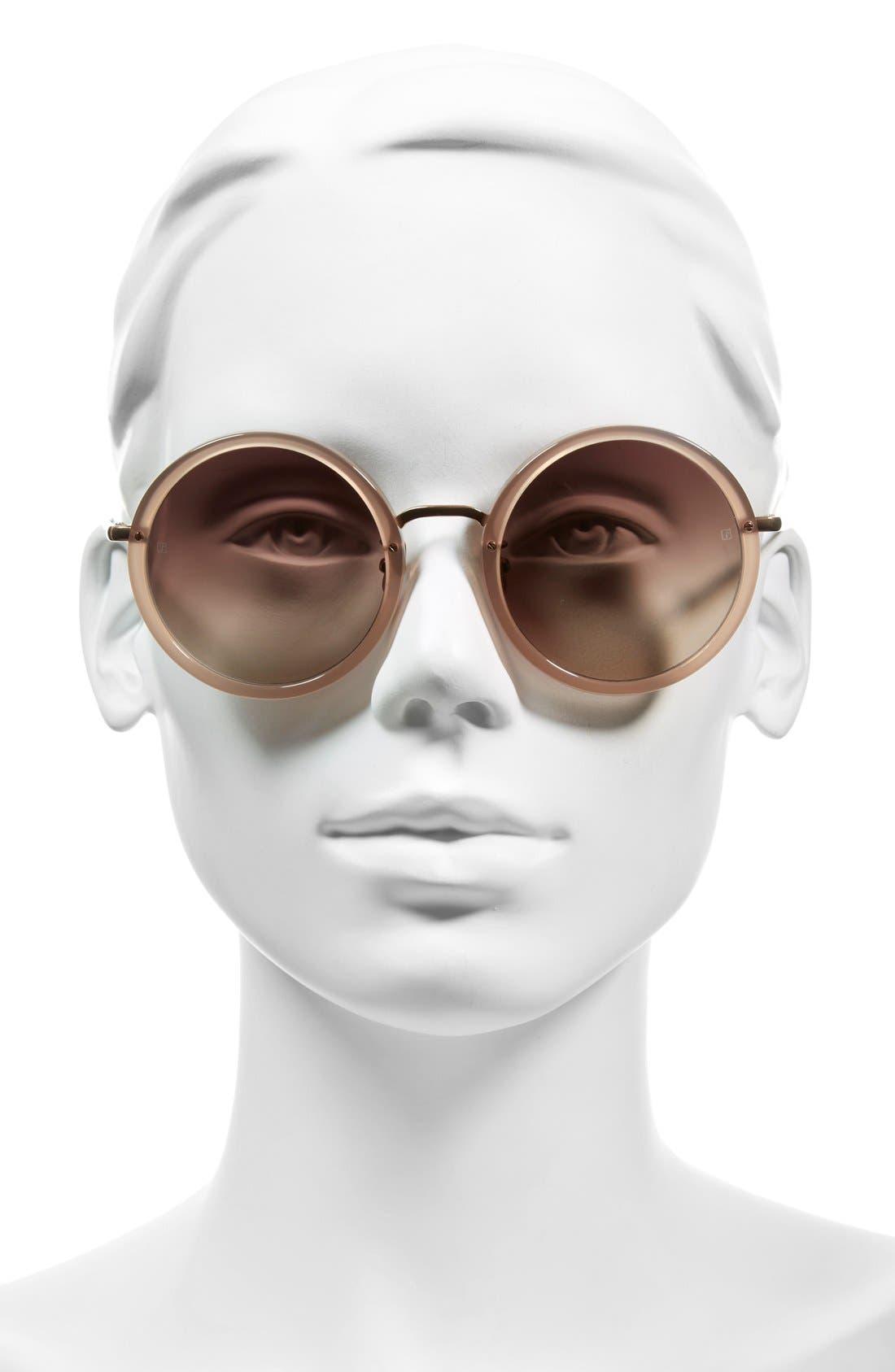 51mm Round 18 Karat Rose Gold Sunglasses,                             Alternate thumbnail 4, color,