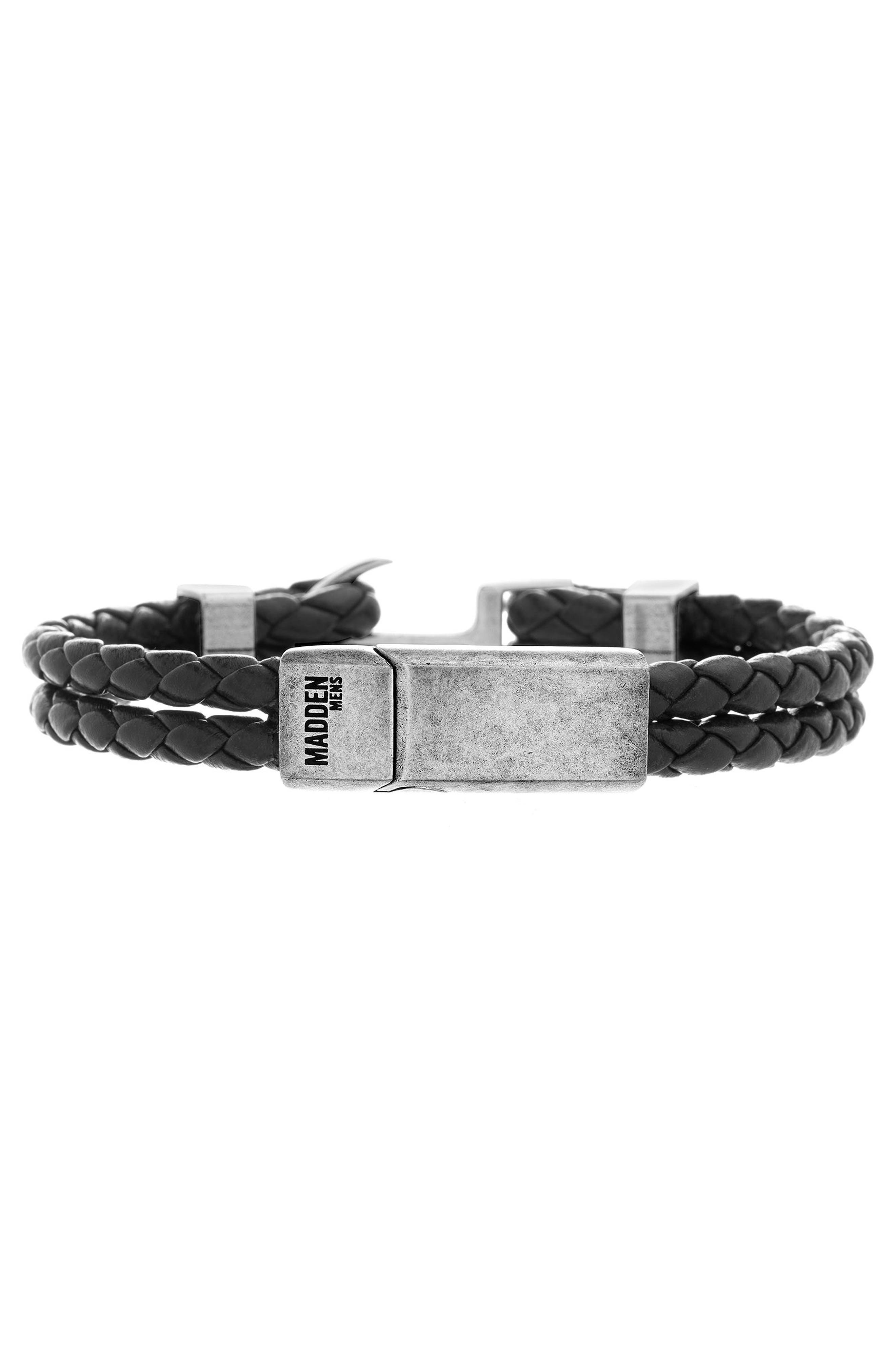Braided Leather Bracelet,                         Main,                         color, 001