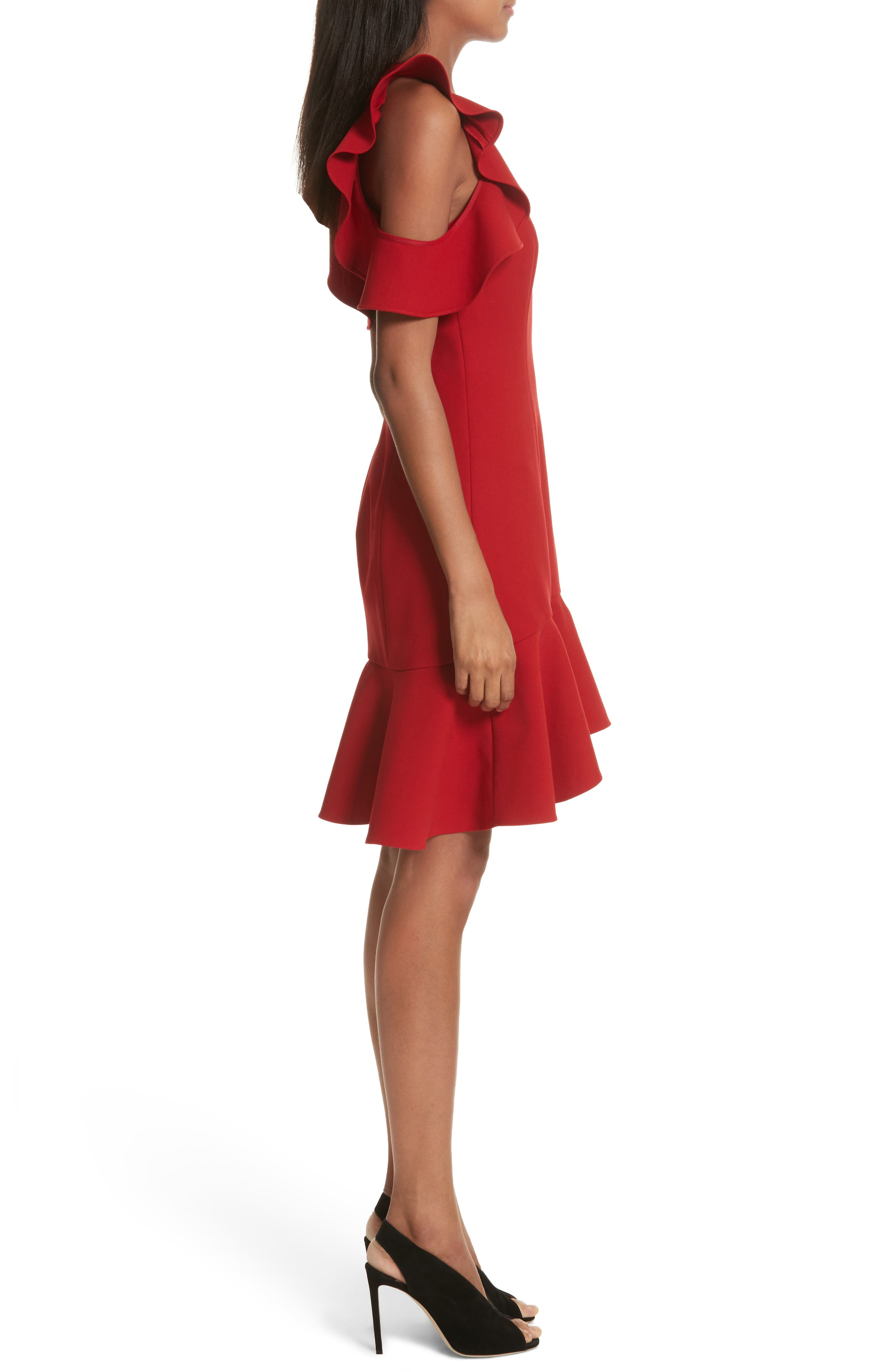 Micah Ruffle Cold Shoulder Dress,                             Alternate thumbnail 3, color,                             CARMINE
