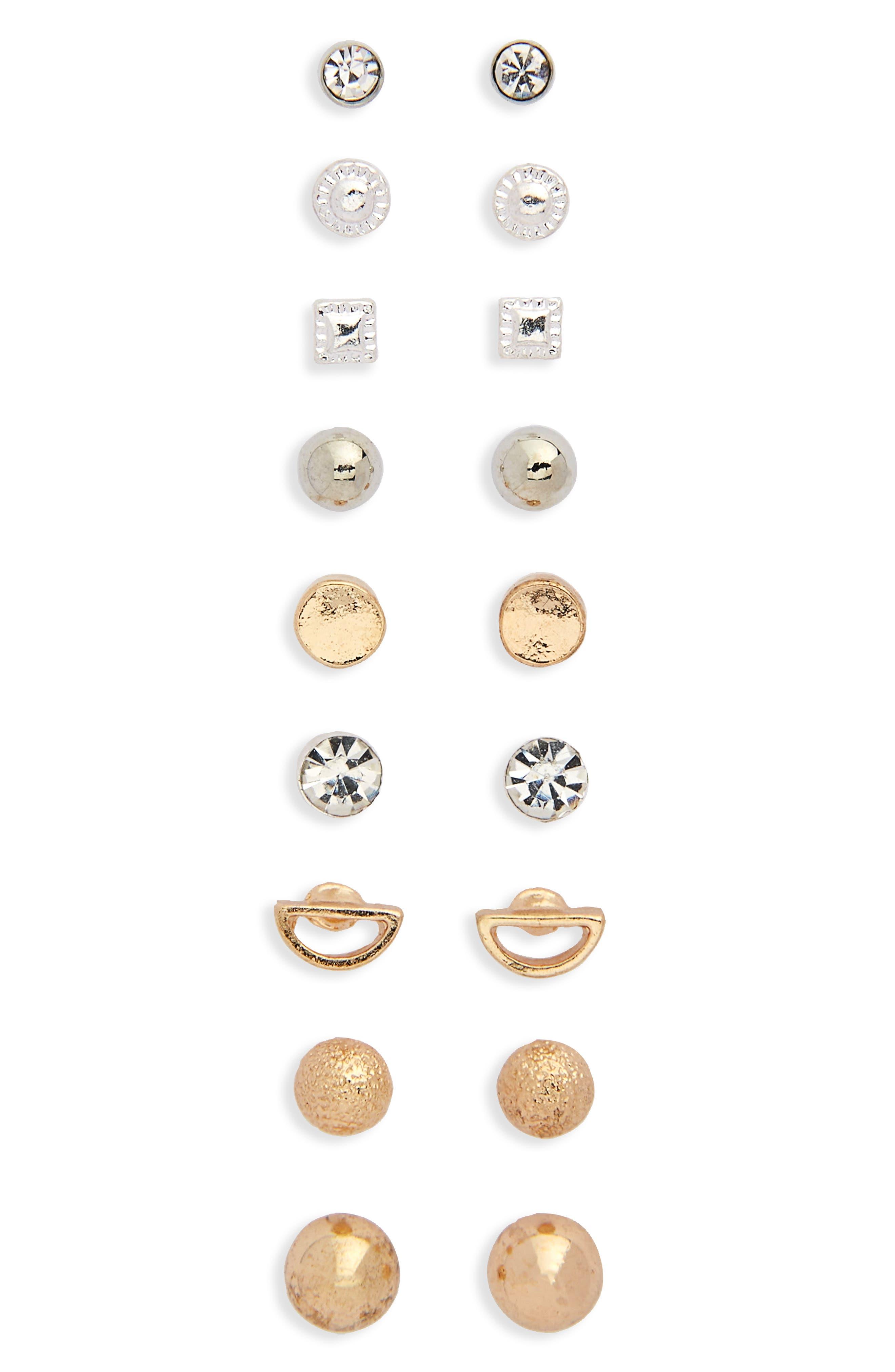9-Pack Dainty Stud Earrings,                             Main thumbnail 1, color,                             710