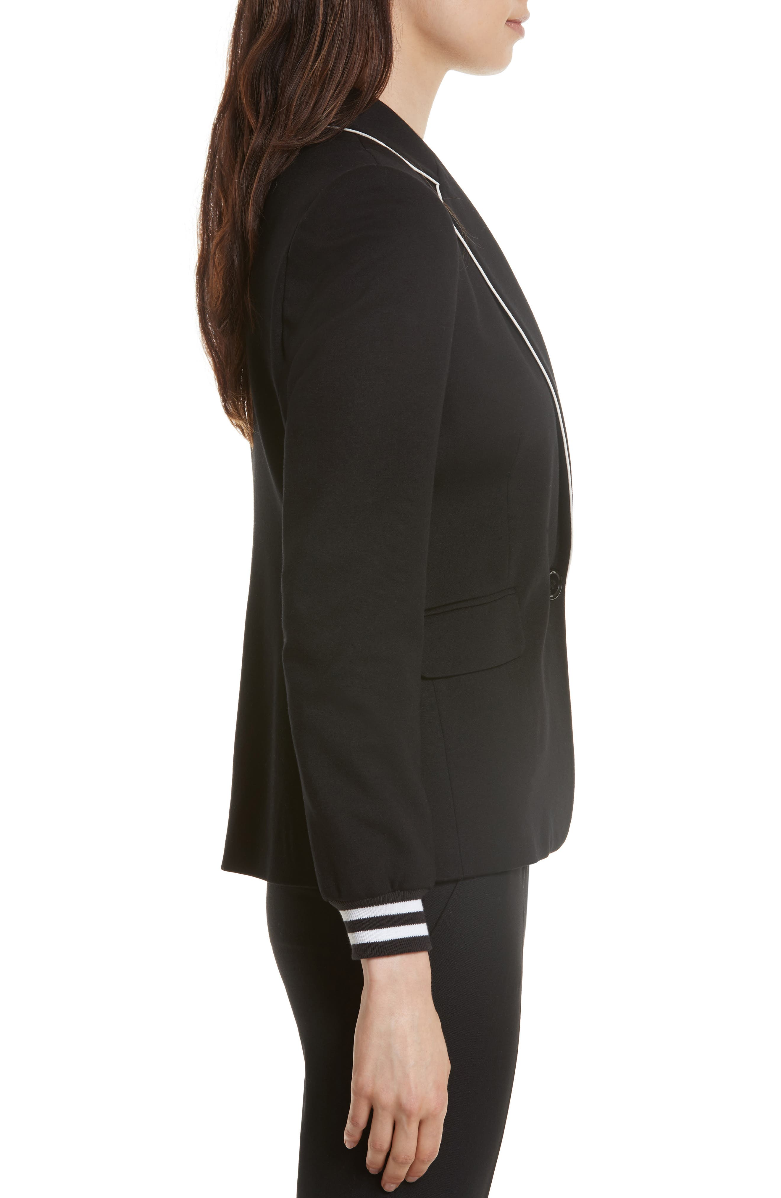 Piped Jersey Blazer,                             Alternate thumbnail 3, color,