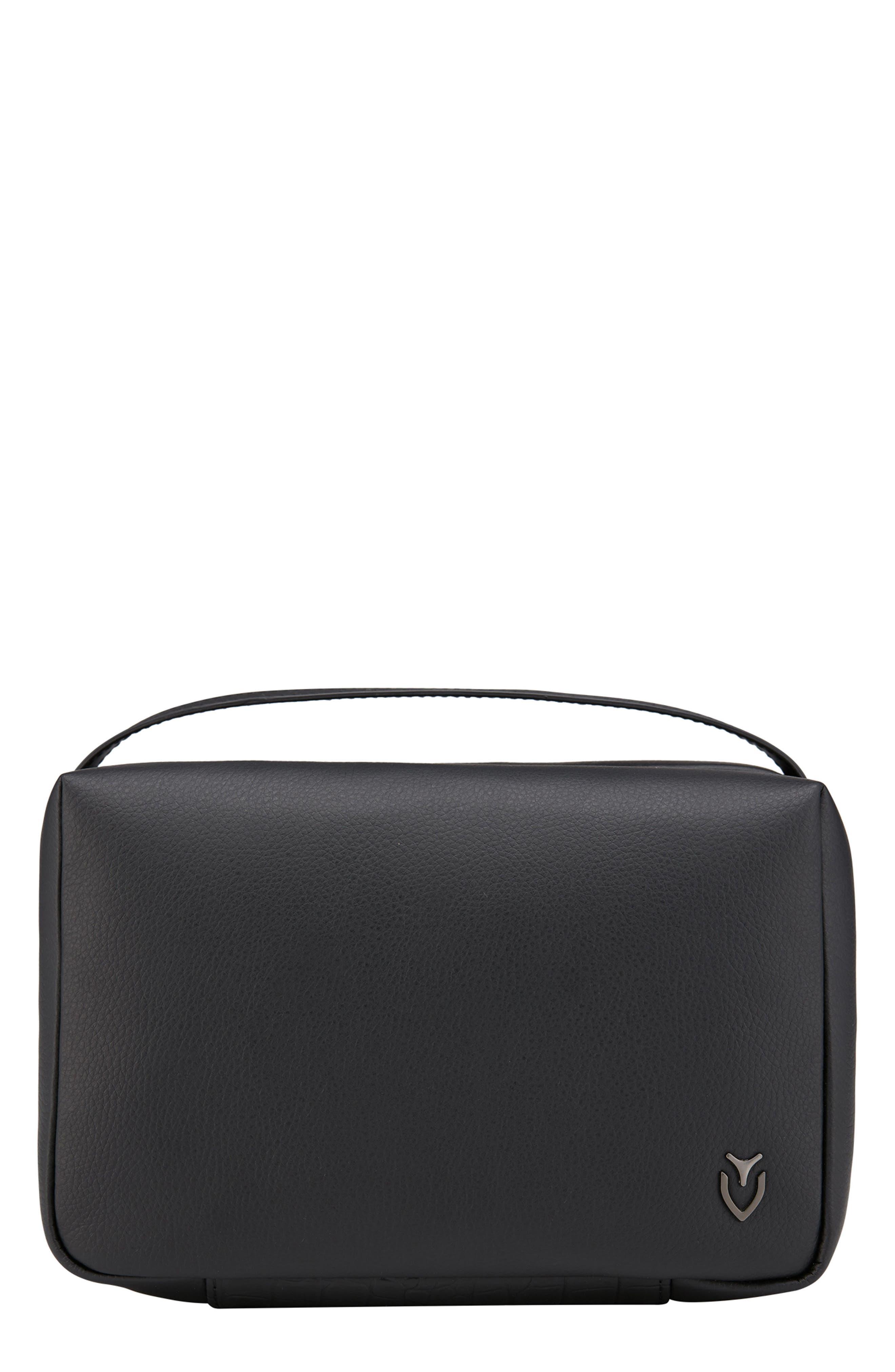 Signature 2.0 Faux Leather Toiletry Case,                             Main thumbnail 1, color,                             PEBBLED/ CROC BLACK