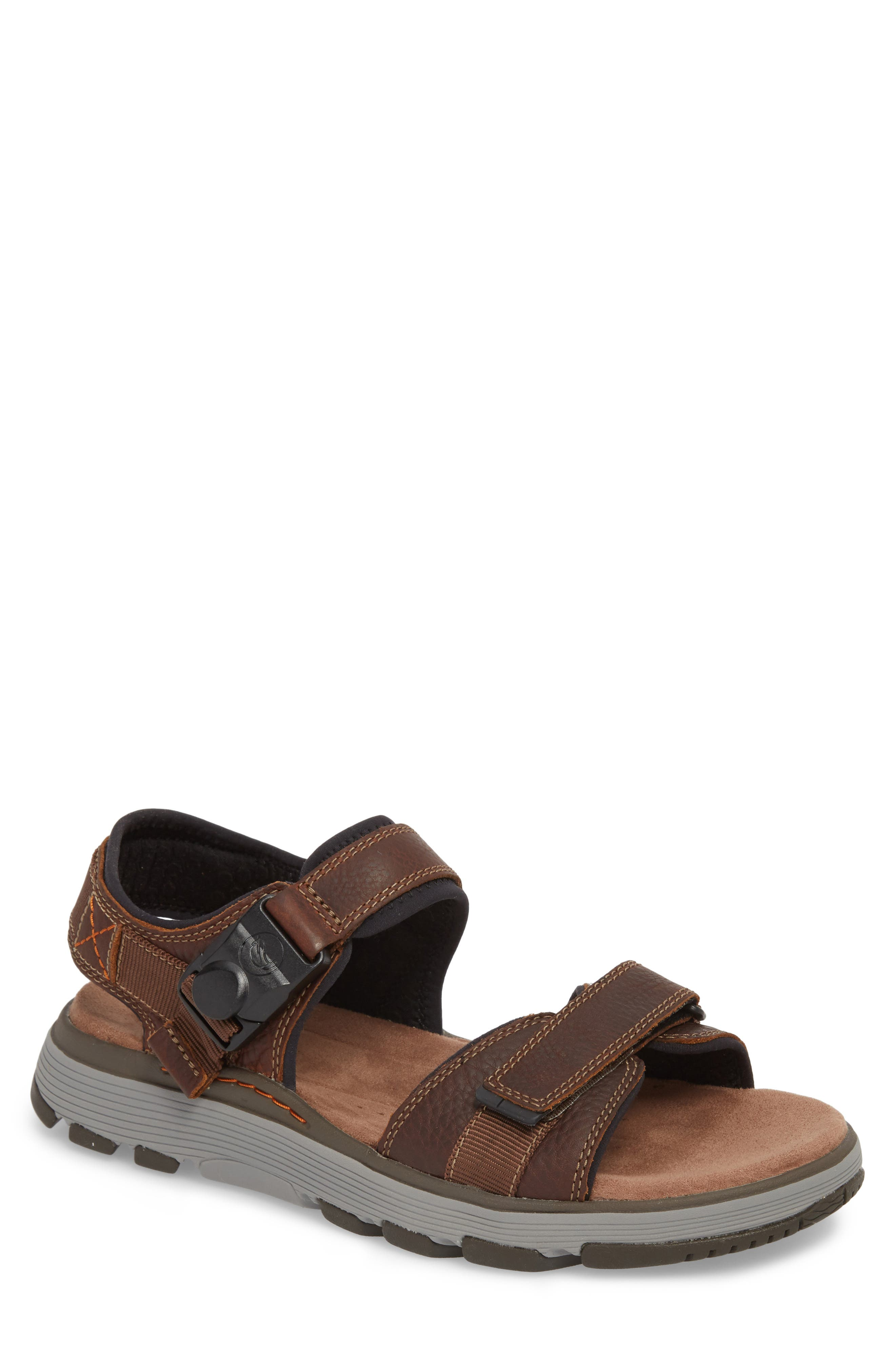 CLARKS<SUP>®</SUP> Originals Un Trek Part Sport Sandal, Main, color, DARK TAN LEATHER