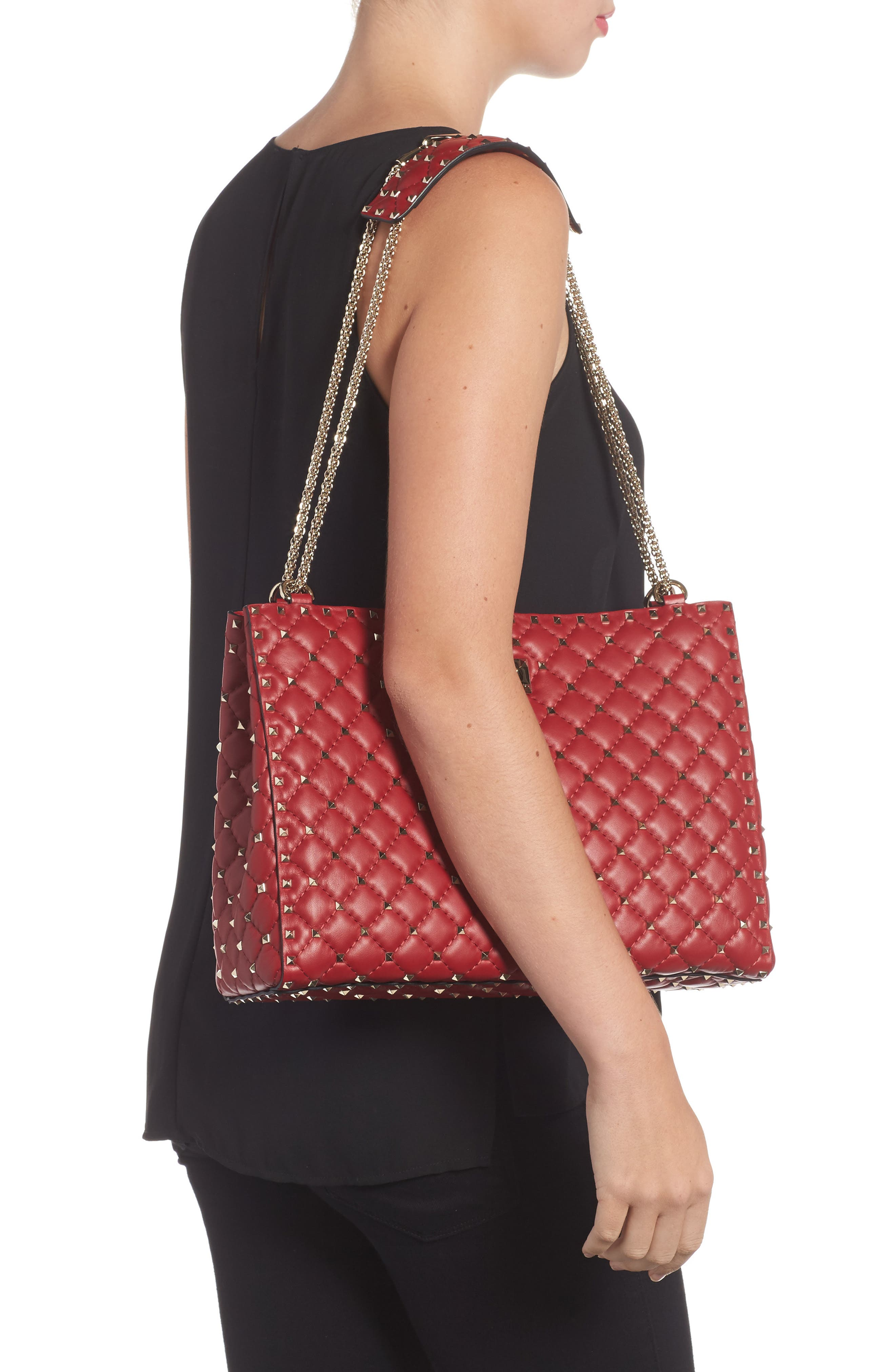 Rockstud Spike Quilted Lambskin Leather Shoulder Bag,                             Alternate thumbnail 2, color,                             ROSSO