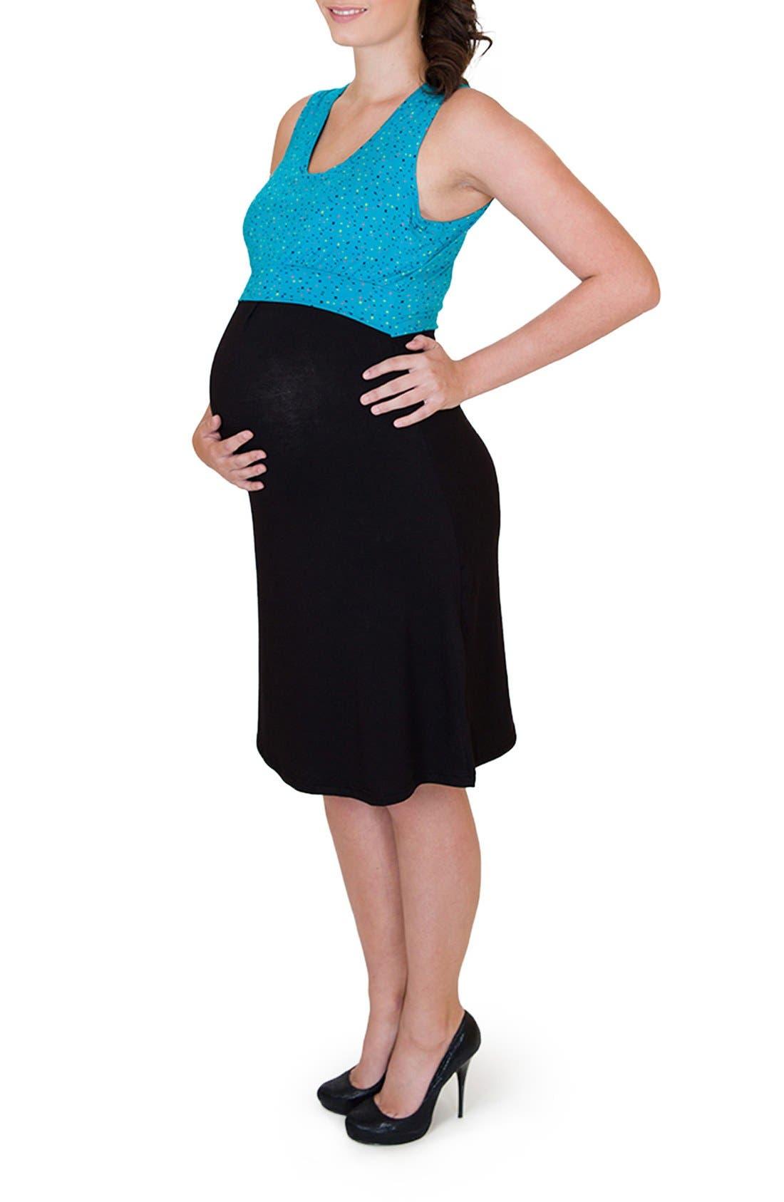'Ana' Maternity/Nursing Dress,                             Alternate thumbnail 3, color,                             DOTS TOP W/ BLACK SKIRT