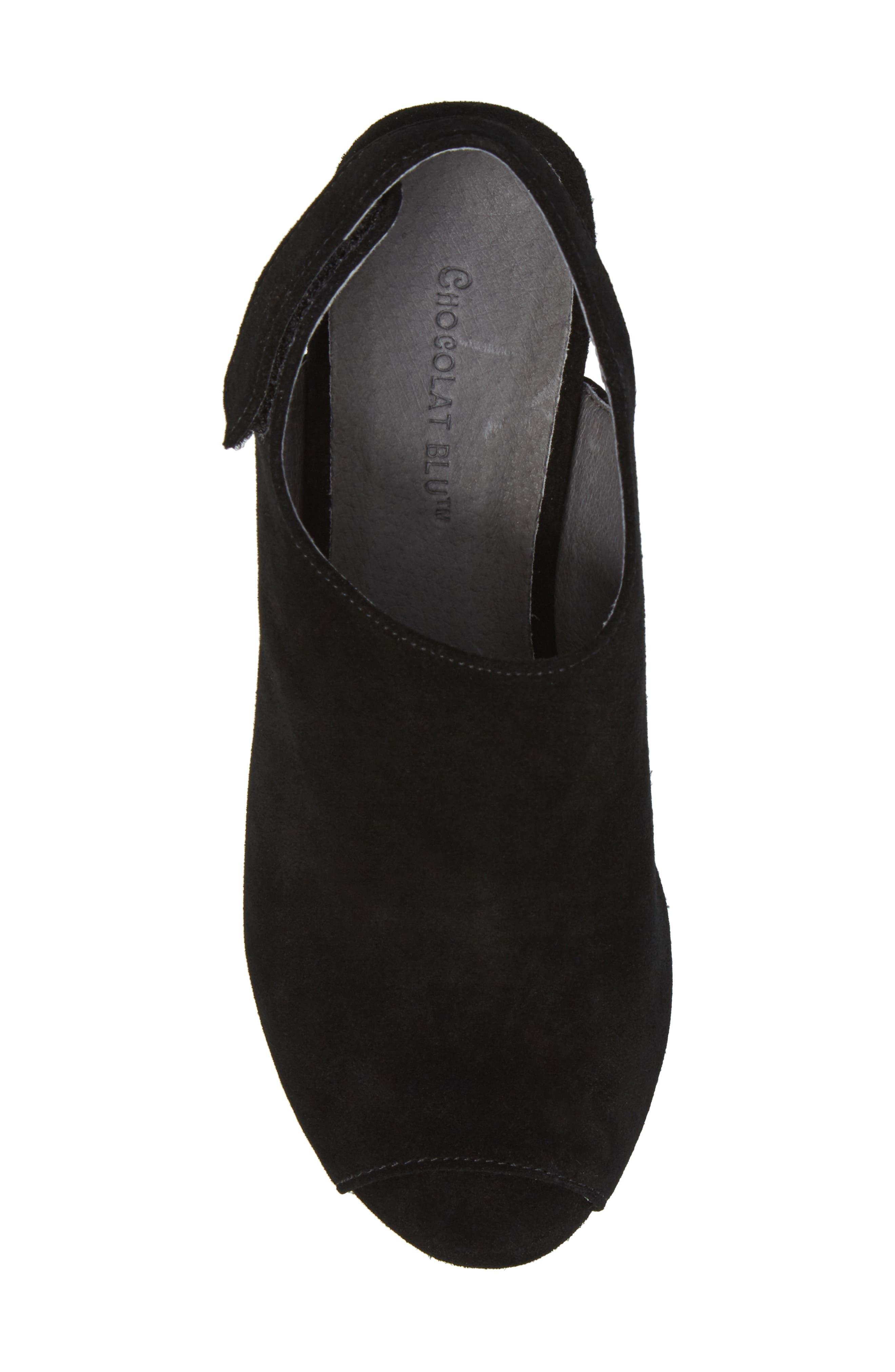 Yana Wedge Sandal,                             Alternate thumbnail 5, color,                             BLACK SUEDE