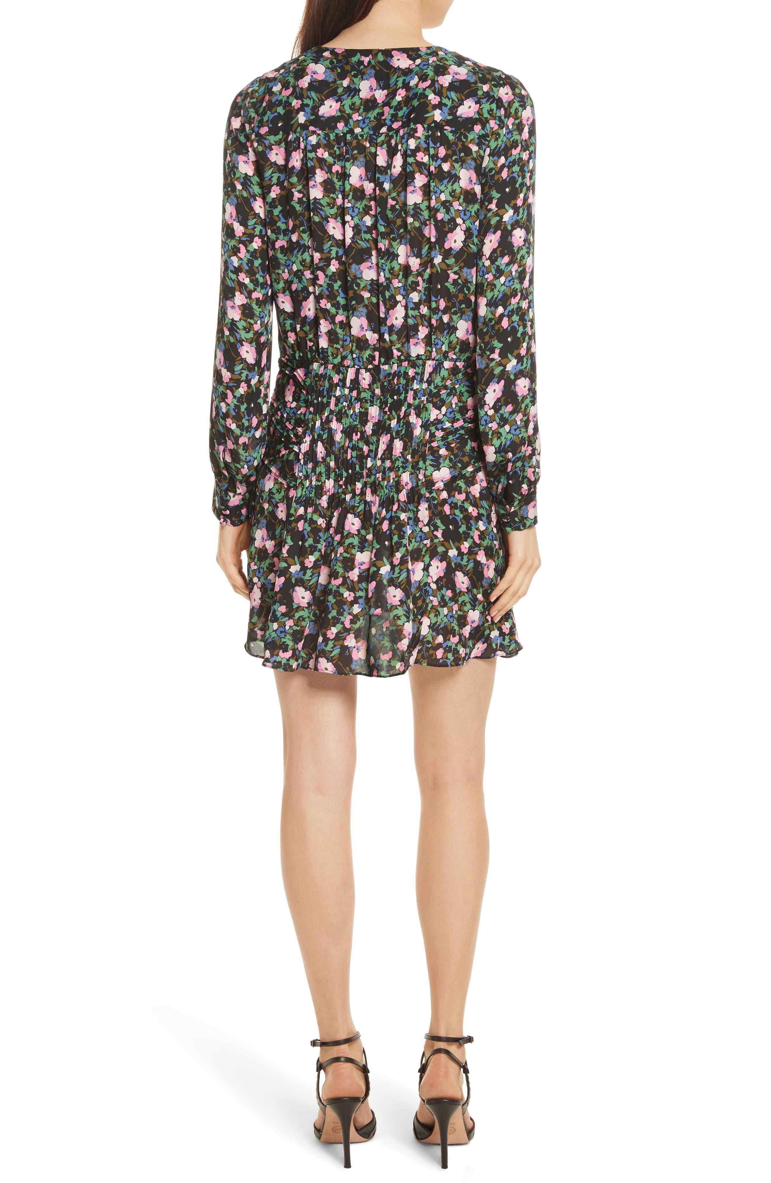 Naomi Floral Print Silk Dress,                             Alternate thumbnail 2, color,