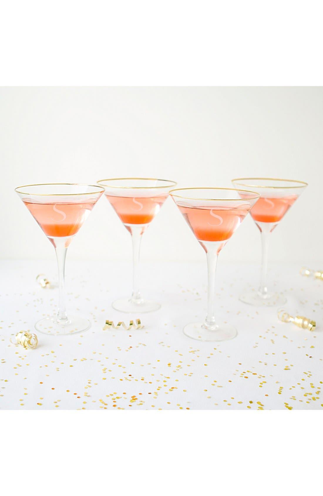 Set of 4 Gold Rimmed Monogram Martini Glasses,                             Alternate thumbnail 2, color,                             710