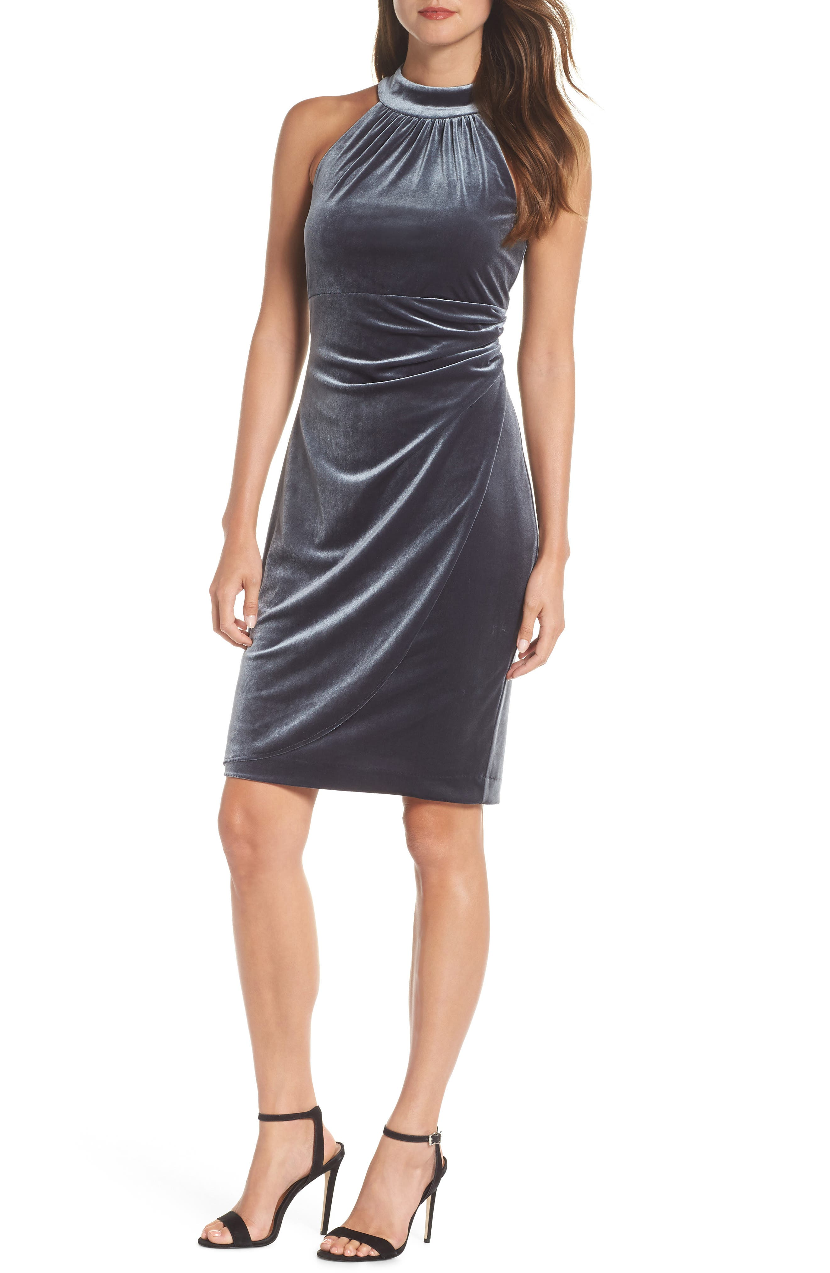 Vince Camuto Draped Velvet Cocktail Dress, Grey