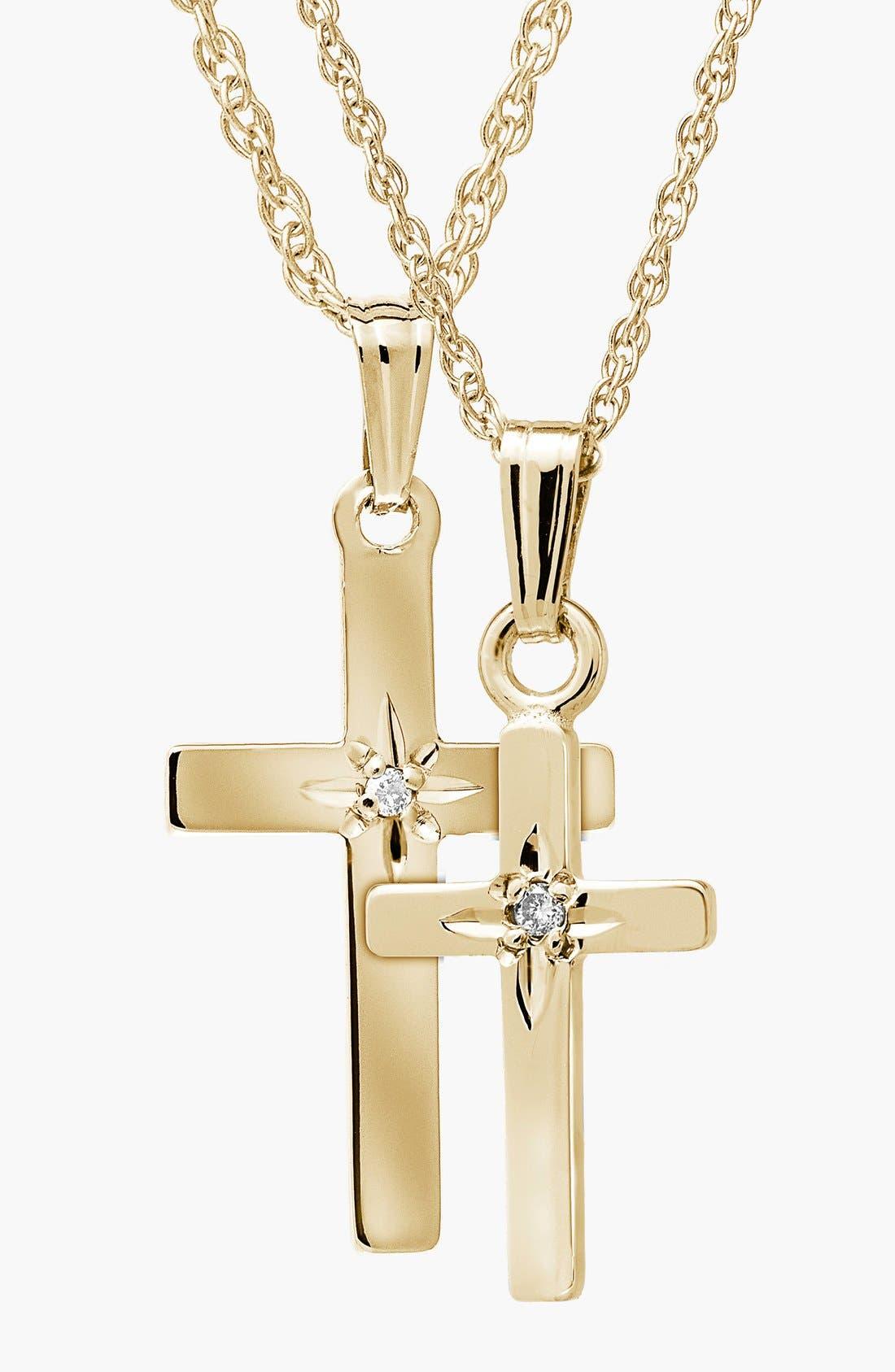 14k Gold & Diamond Cross Mother & Daughter Necklace Set,                             Main thumbnail 1, color,                             710