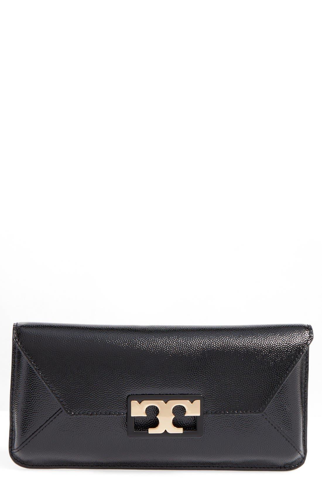 Gigi Caviar Leather Clutch,                         Main,                         color, BLACK
