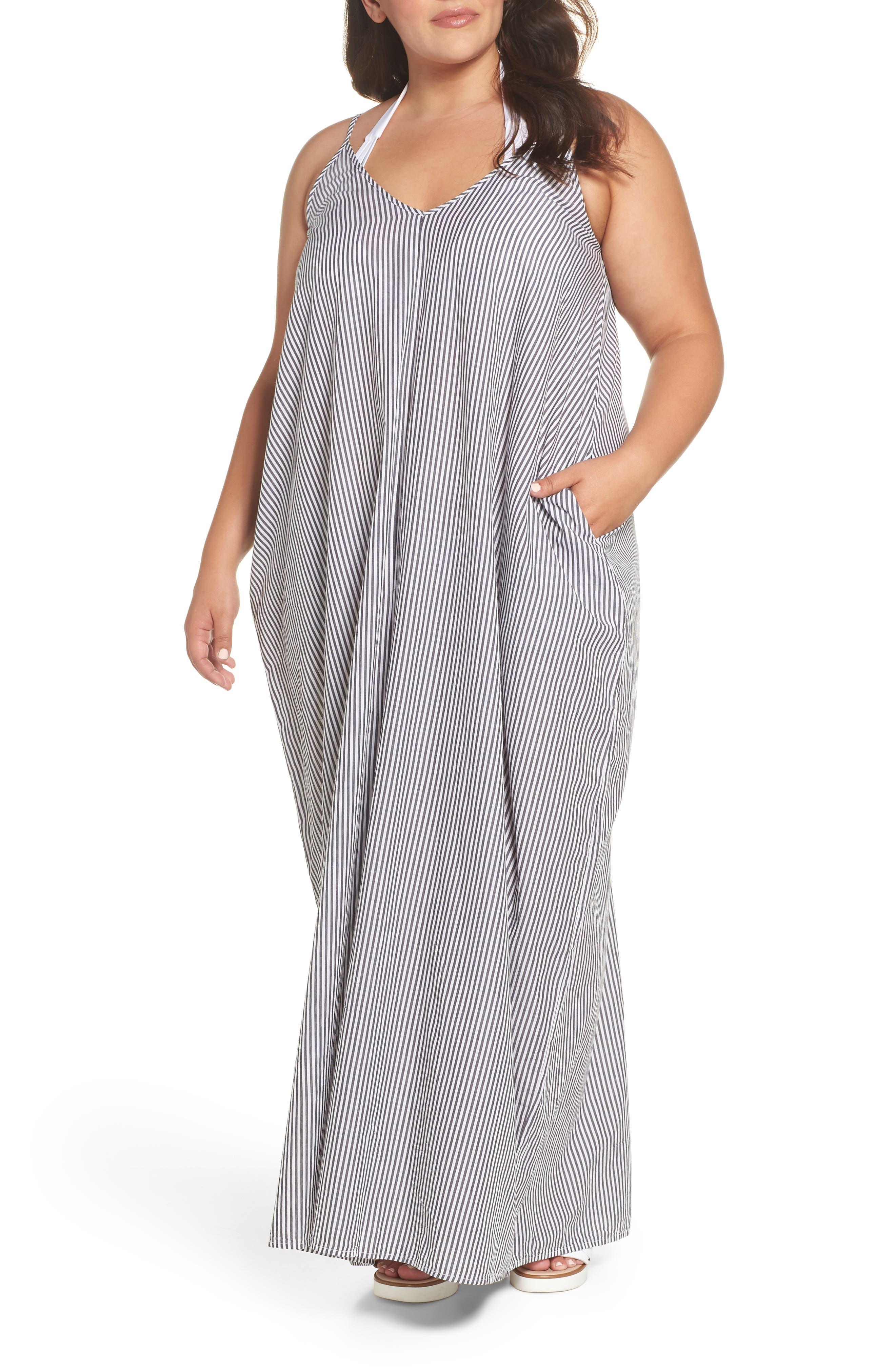 Cover-Up Maxi Dress,                         Main,                         color, BLACK/ WHITE
