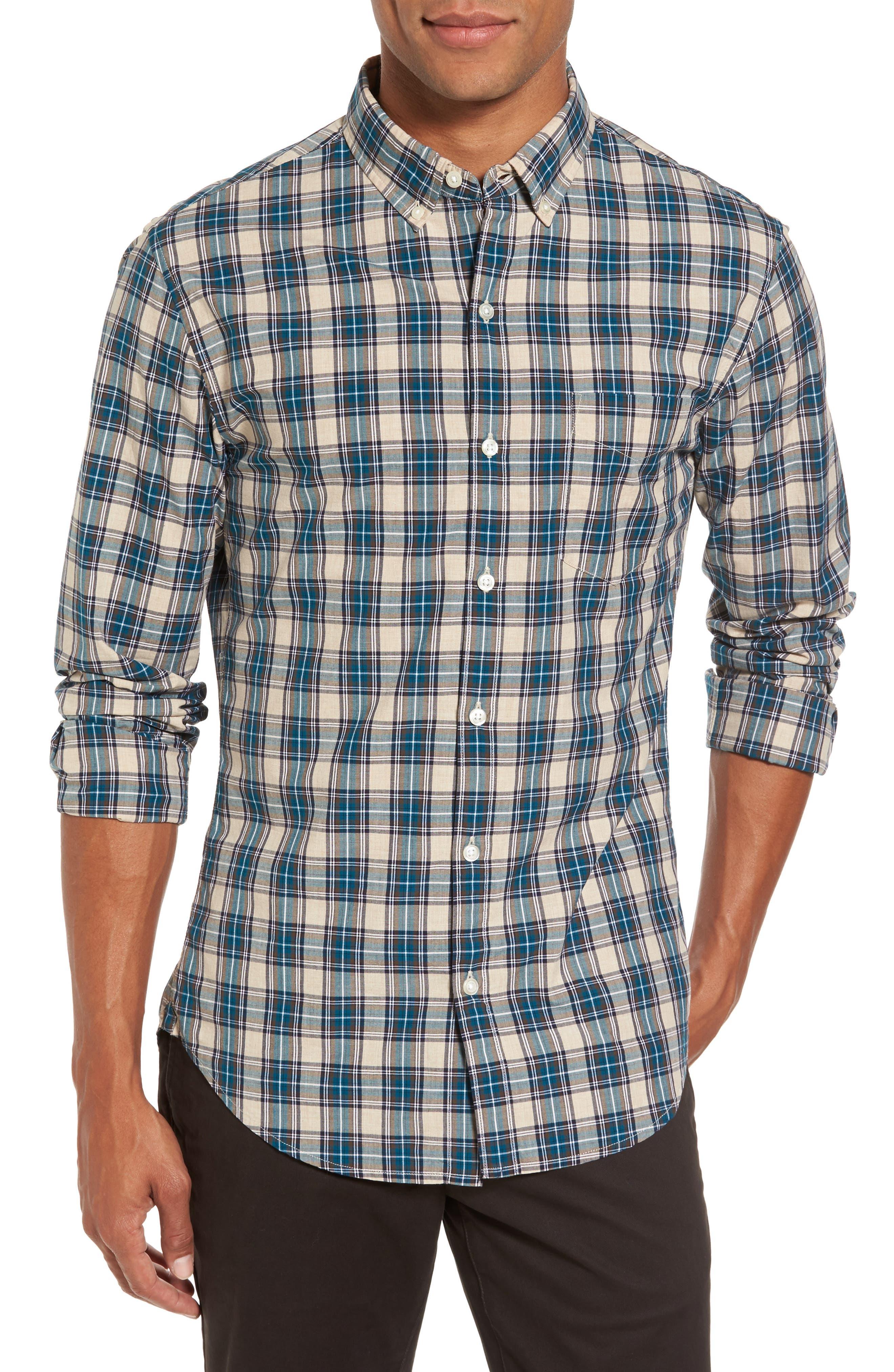Washed Slim Fit Plaid Sport Shirt,                         Main,                         color, 400