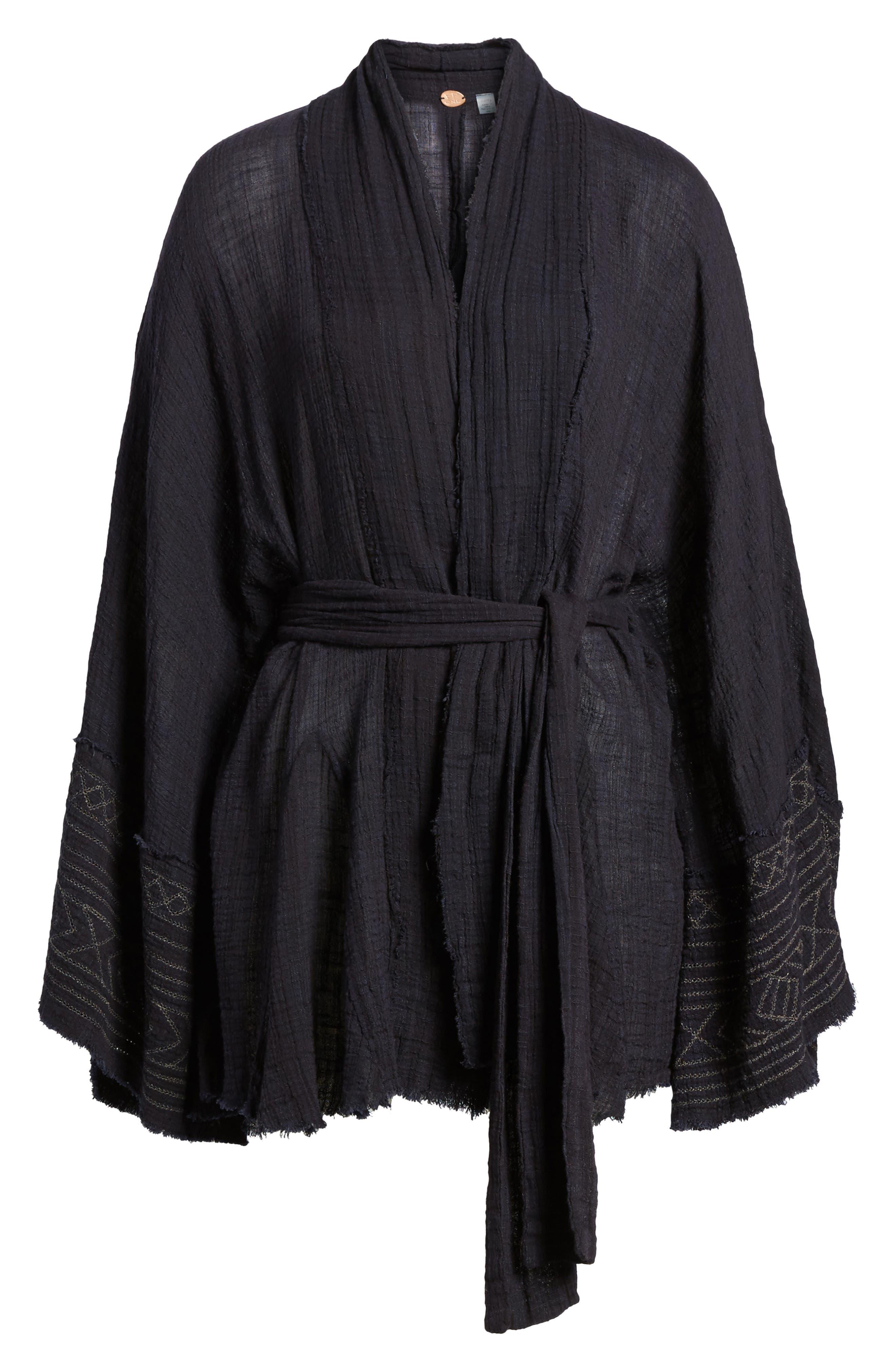 Tie Wrap Kimono,                             Alternate thumbnail 6, color,                             BLACK