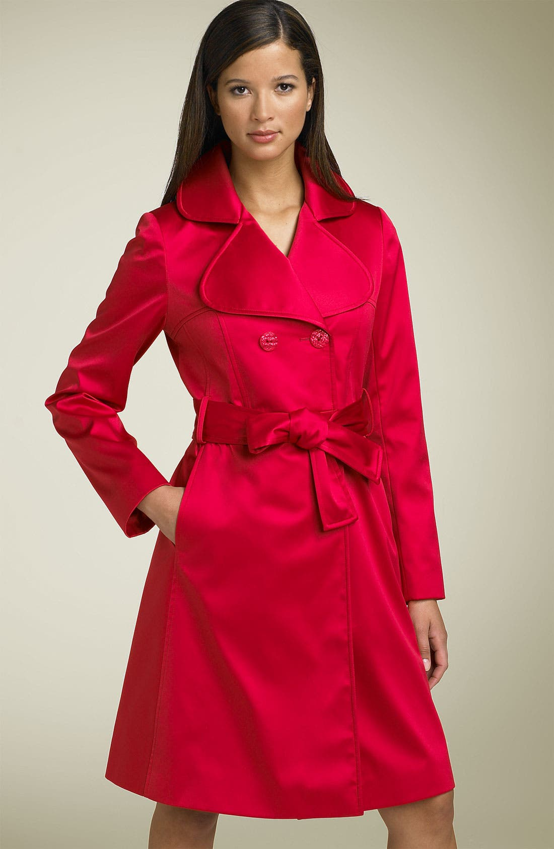 'Gia' Belted Satin Trench,                             Main thumbnail 3, color,