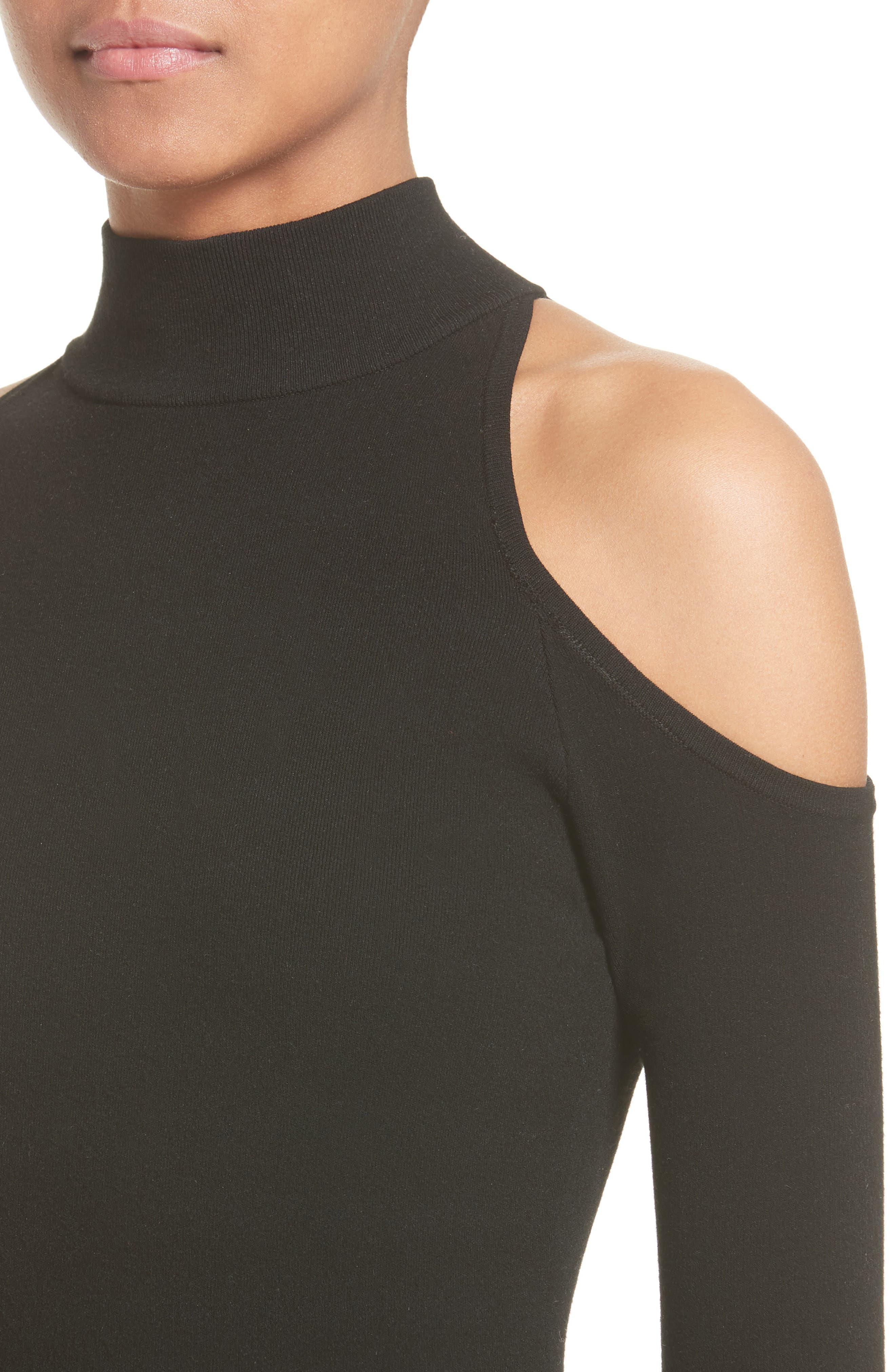 Cold Shoulder Stretch Knit Top,                             Alternate thumbnail 4, color,                             001