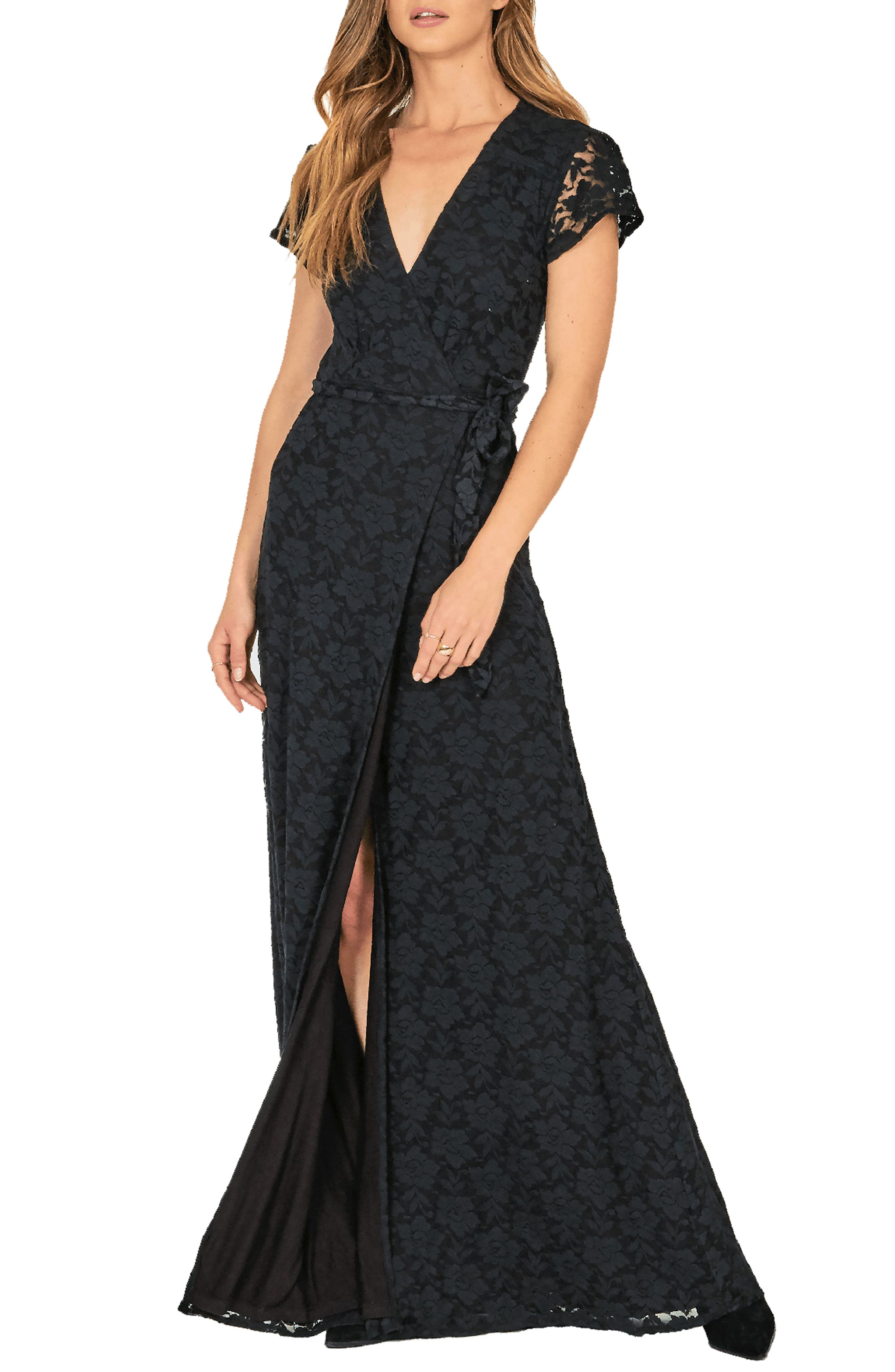 AMUSE SOCIETY Great Lengths Wrap Dress in Black