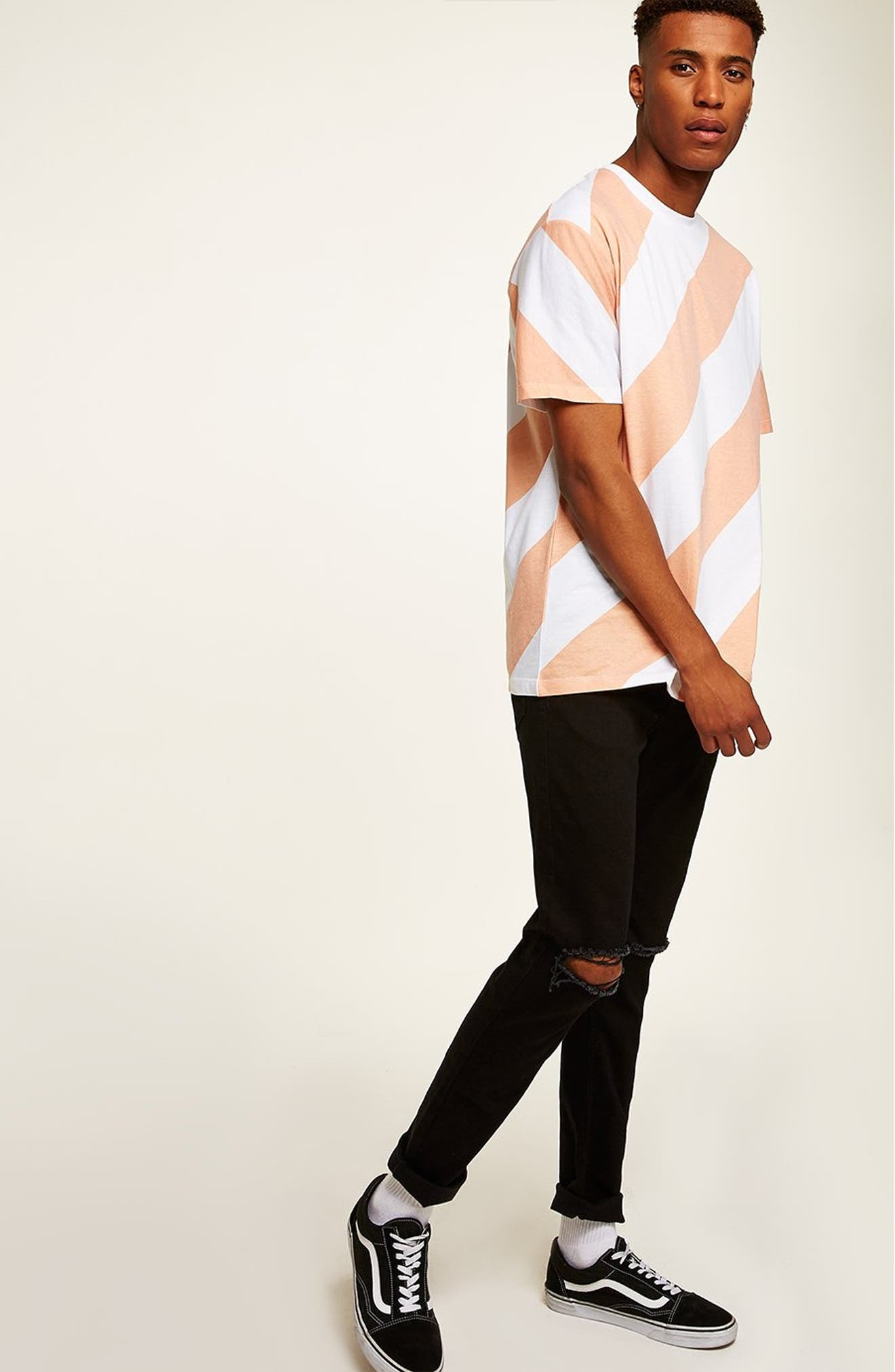 Double Ripped Skinny Fit Jeans,                             Alternate thumbnail 5, color,                             BLACK