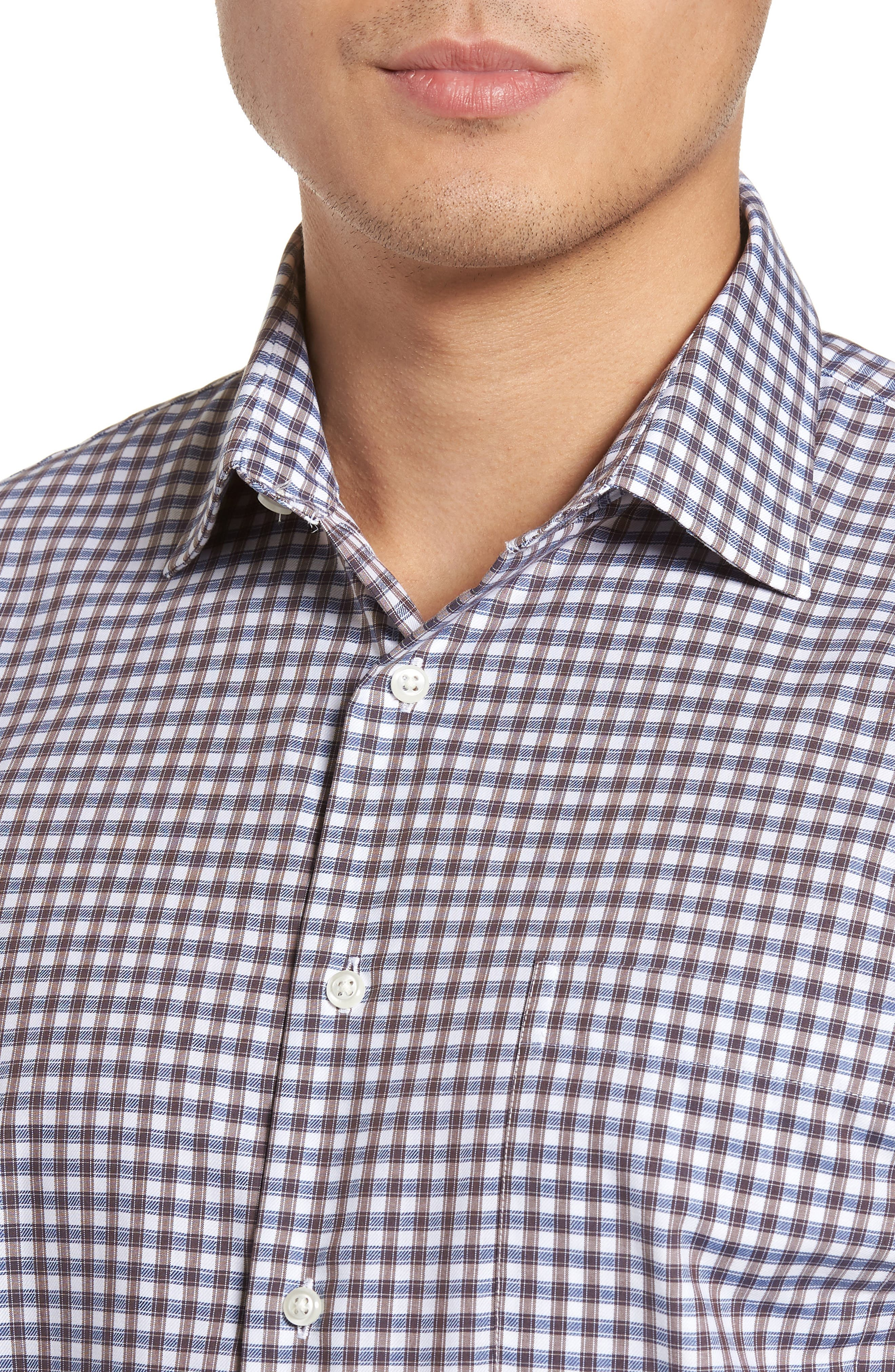 Trim Fit Non-Iron Check Dress Shirt,                             Alternate thumbnail 4, color,