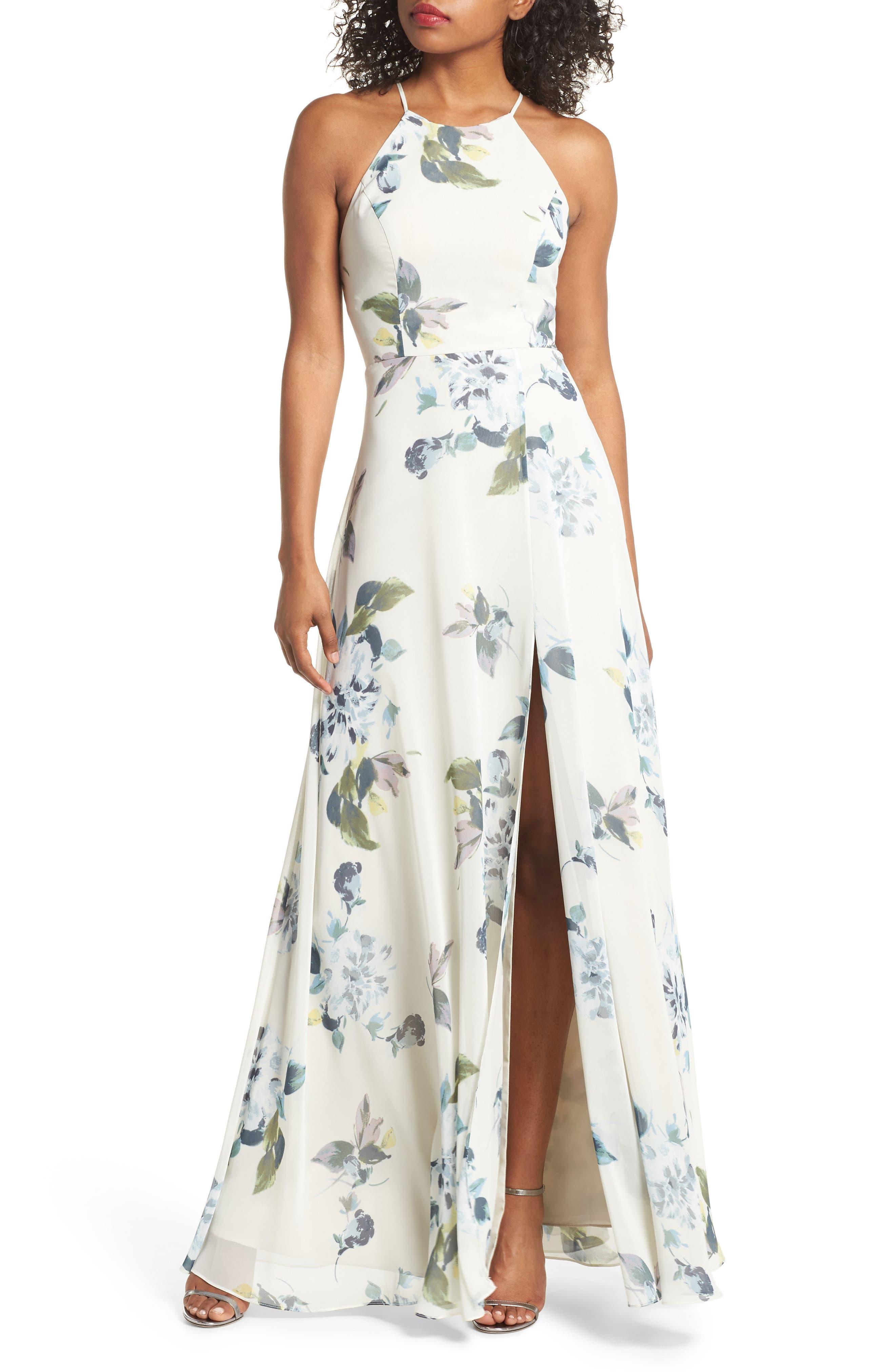 JENNY YOO Collection Kayla Ohana Print Gown in Soft Sage Blue Multi