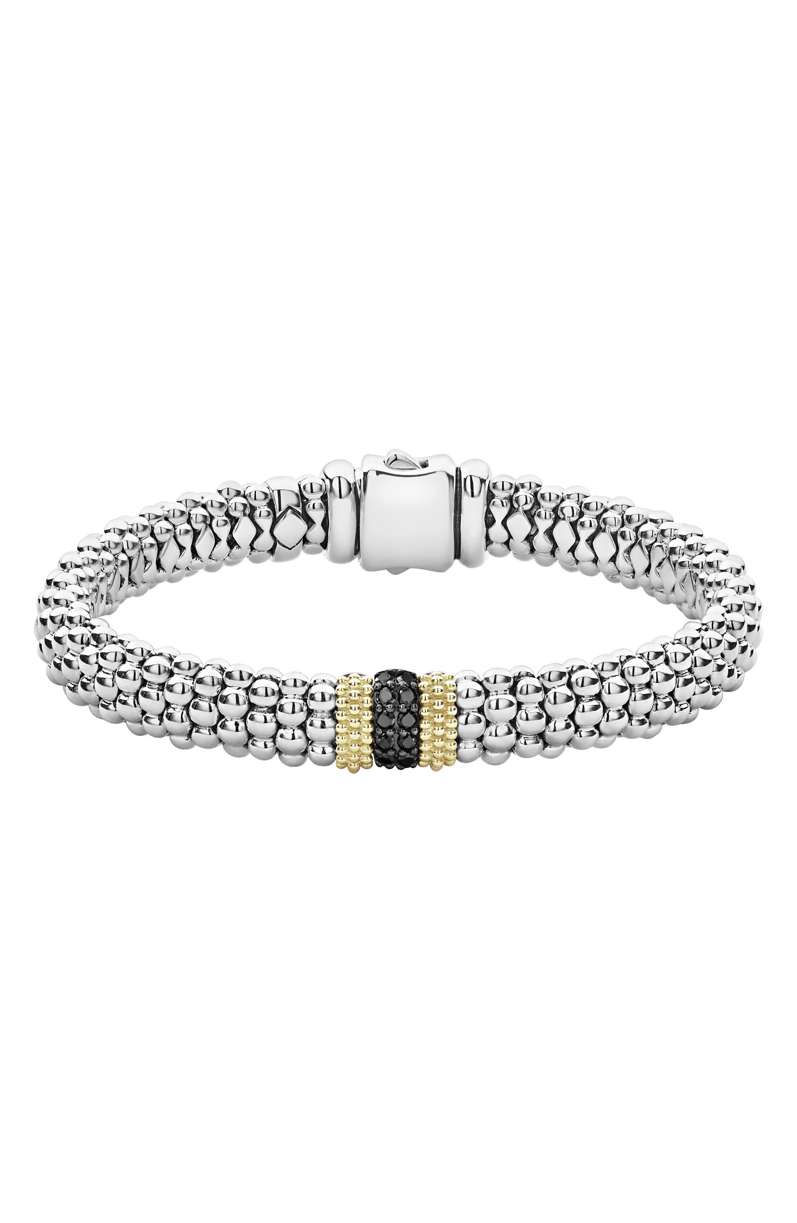 18K Yellow Gold & Sterling Silver Diamond Lux Black Diamond Rope Bracelet