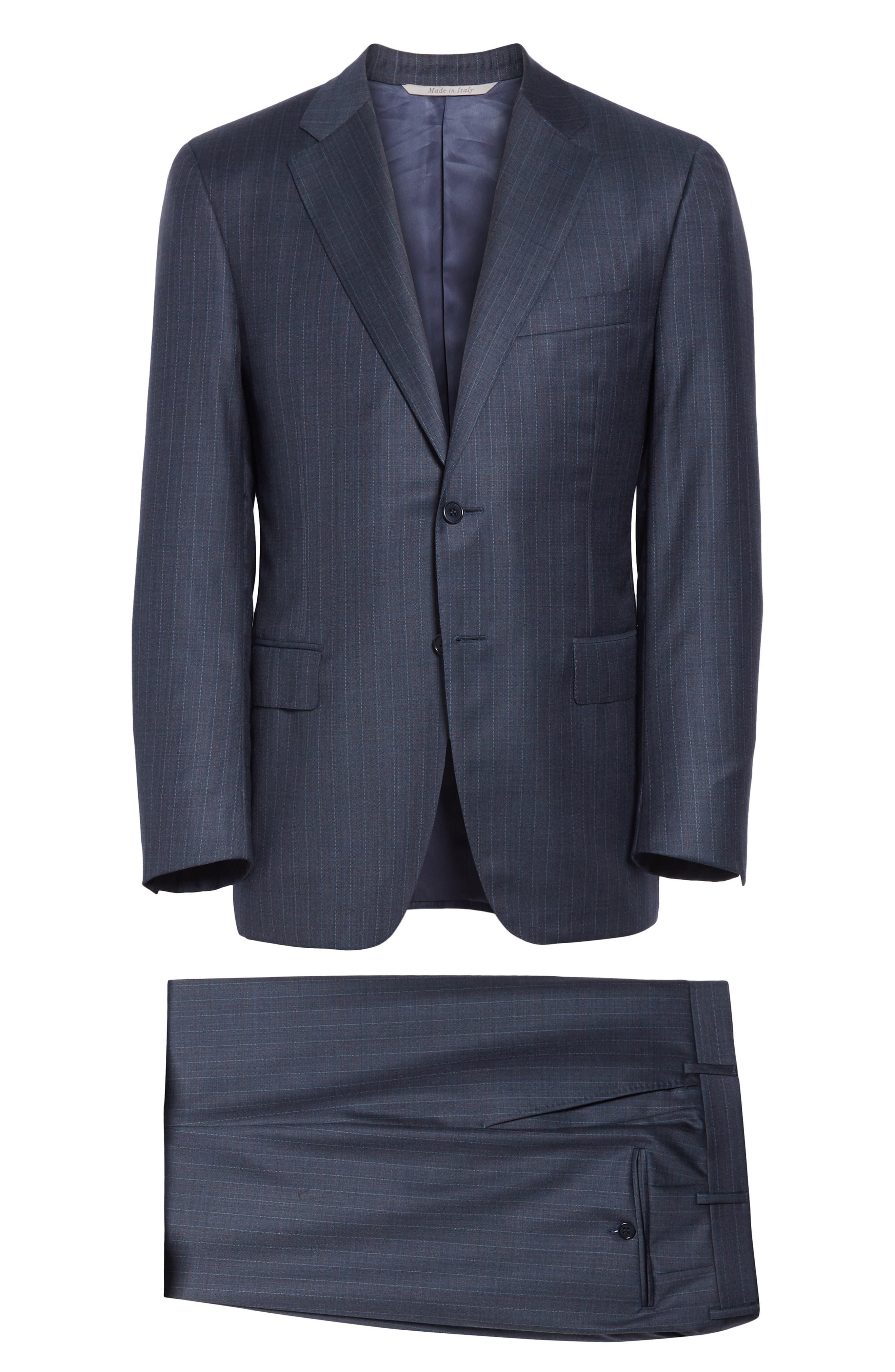 Classic Fit Stripe Wool Suit,                             Alternate thumbnail 7, color,                             400