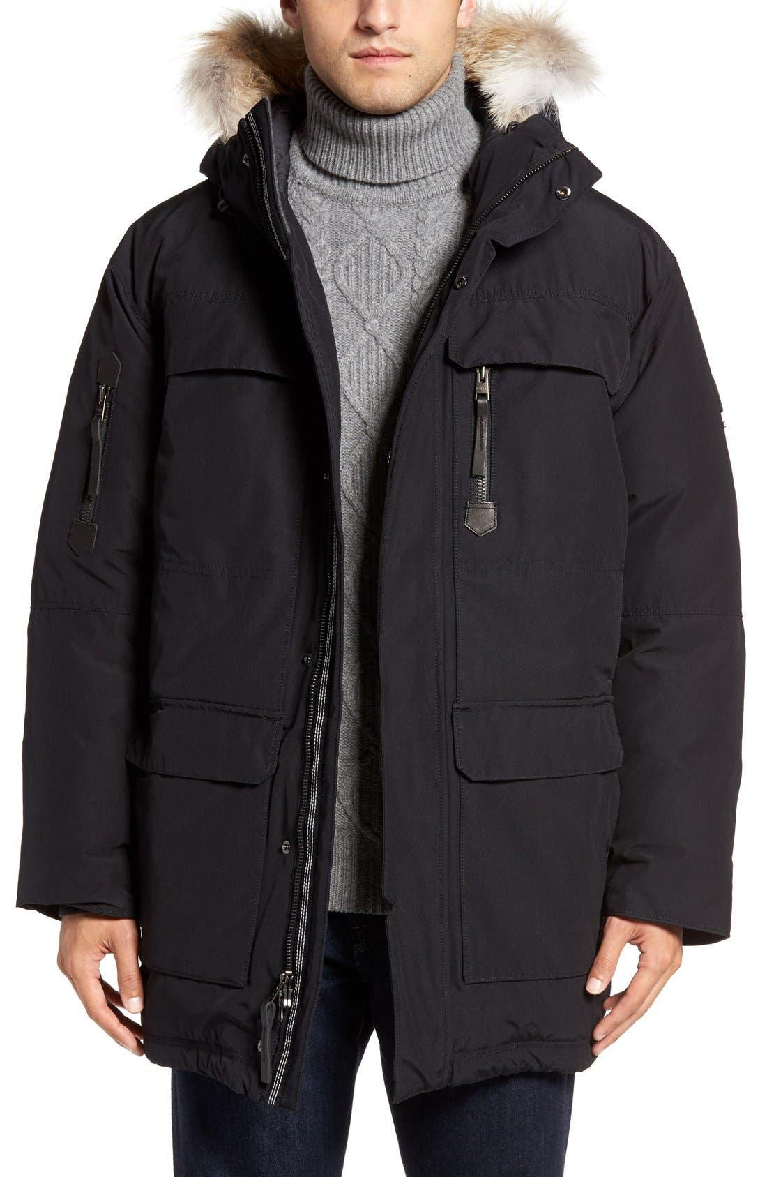 Caribou Water Resistant Down Parka with Genuine Coyote Fur Trim, Main, color, 010