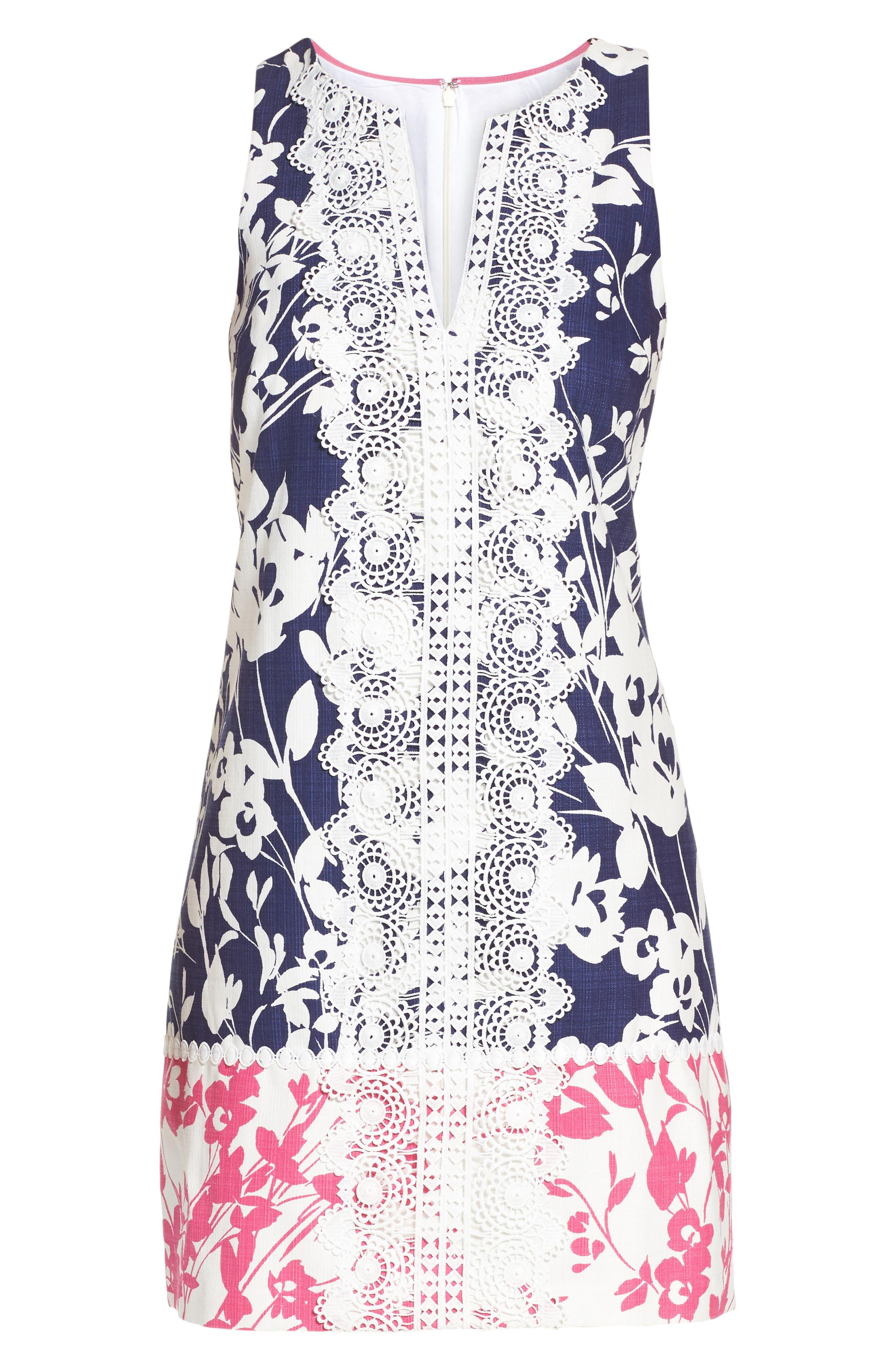 Stretch Cotton A-Line Dress,                             Alternate thumbnail 7, color,                             NAVY/ PINK