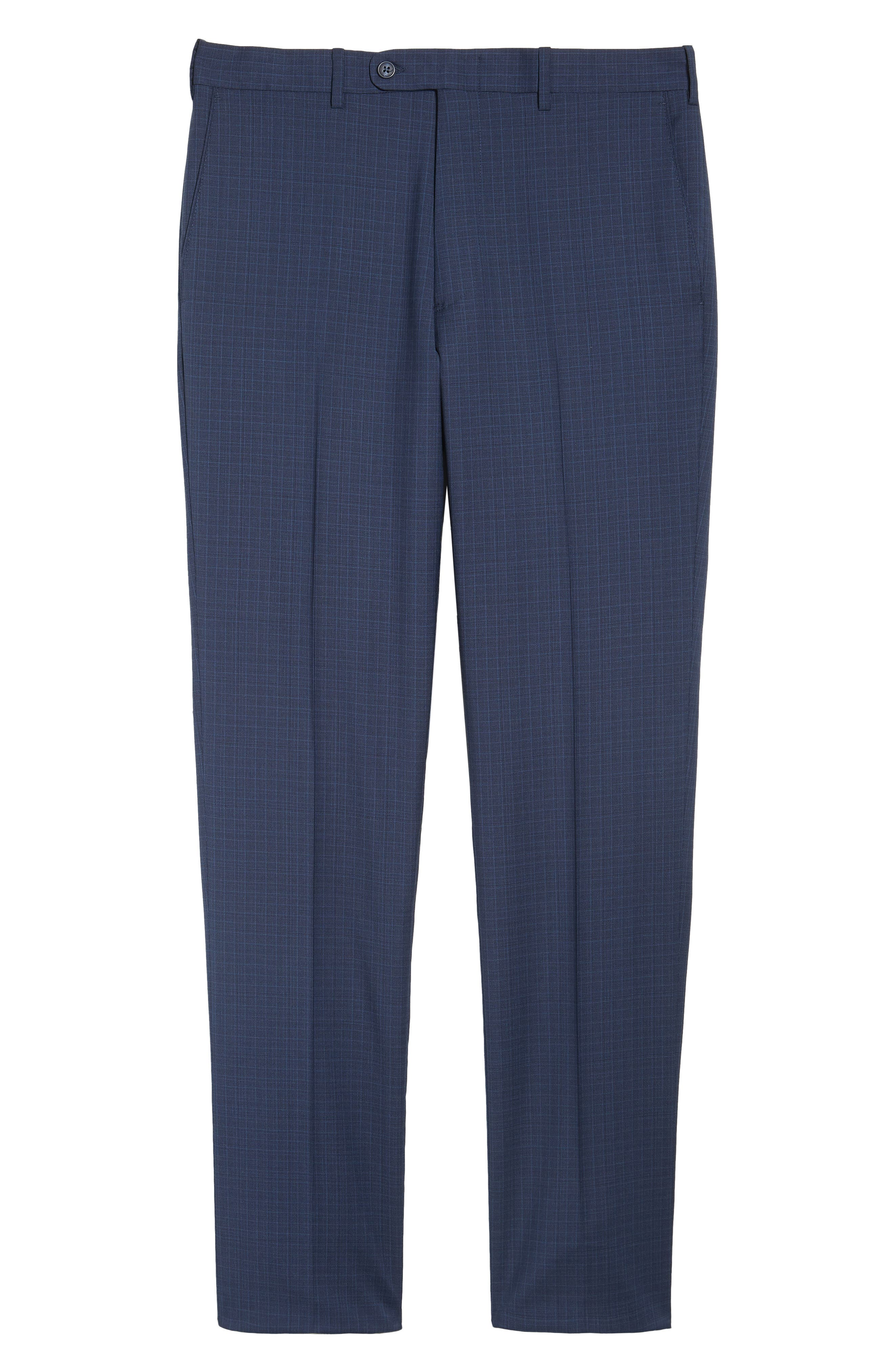 Flat Front Check Wool Trousers,                             Alternate thumbnail 18, color,