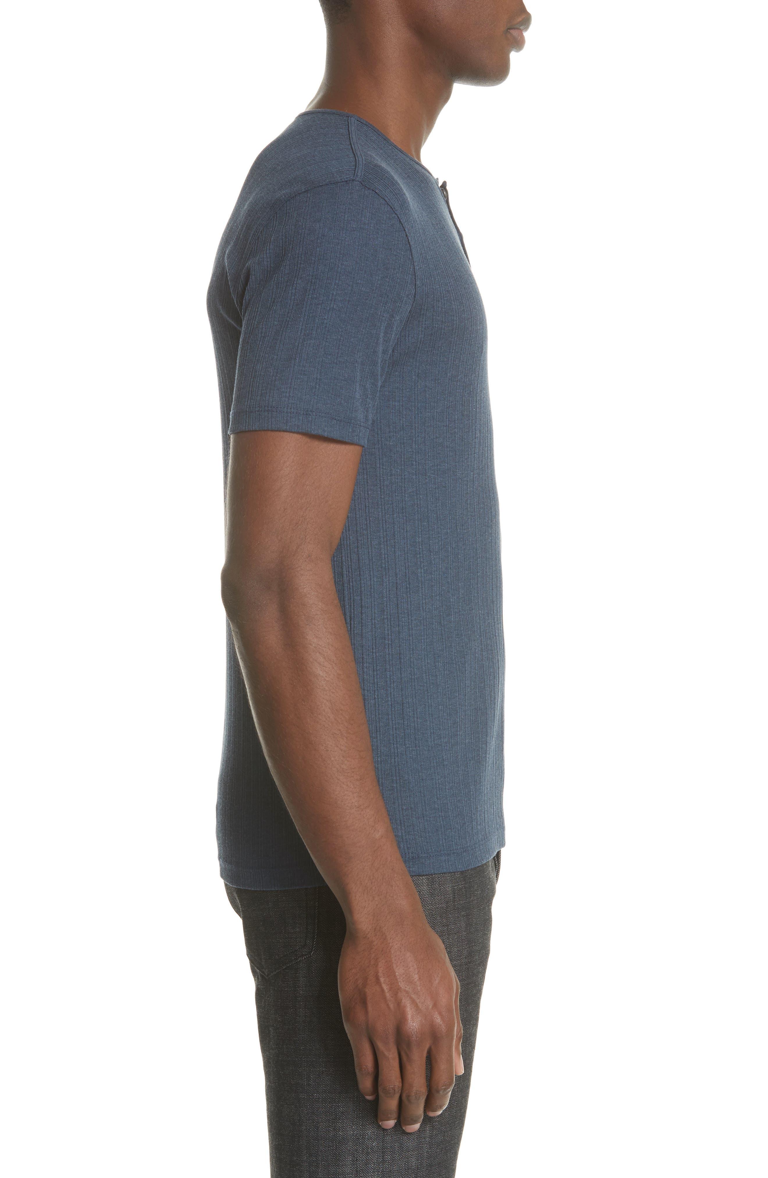 Rib Henley T-Shirt,                             Alternate thumbnail 3, color,                             ATLANTIC BLUE