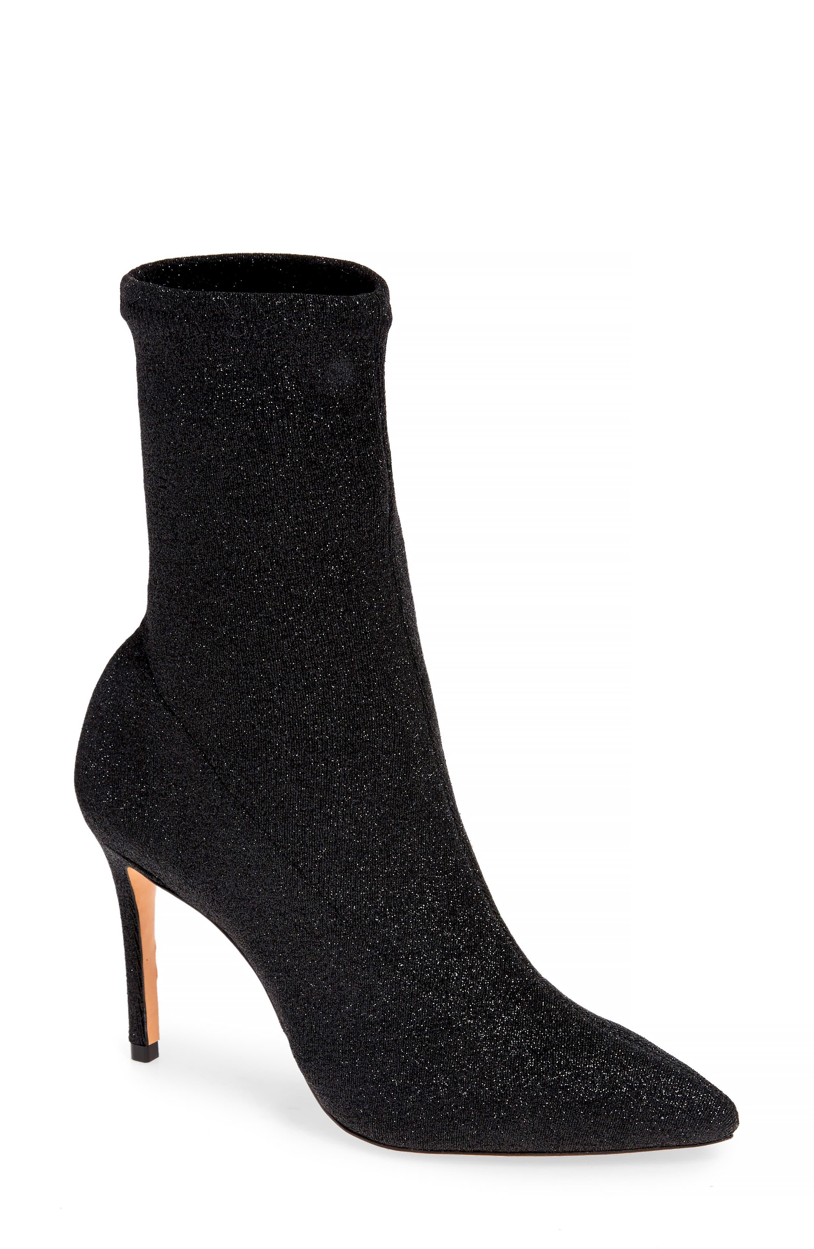 Sciarpe Glitter Sock Bootie,                         Main,                         color, BLACK