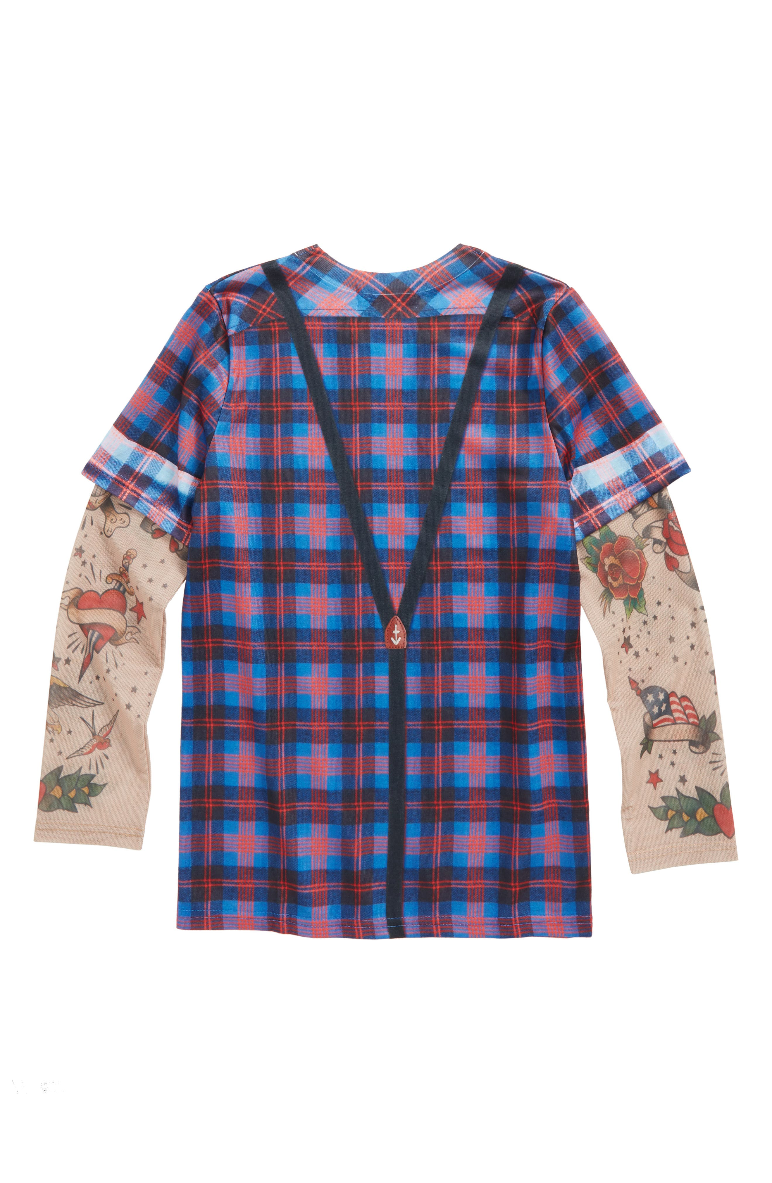 Hipster Bow Tie & Suspender Print T-Shirt with Tattoo Print Sleeves,                             Alternate thumbnail 2, color,                             400