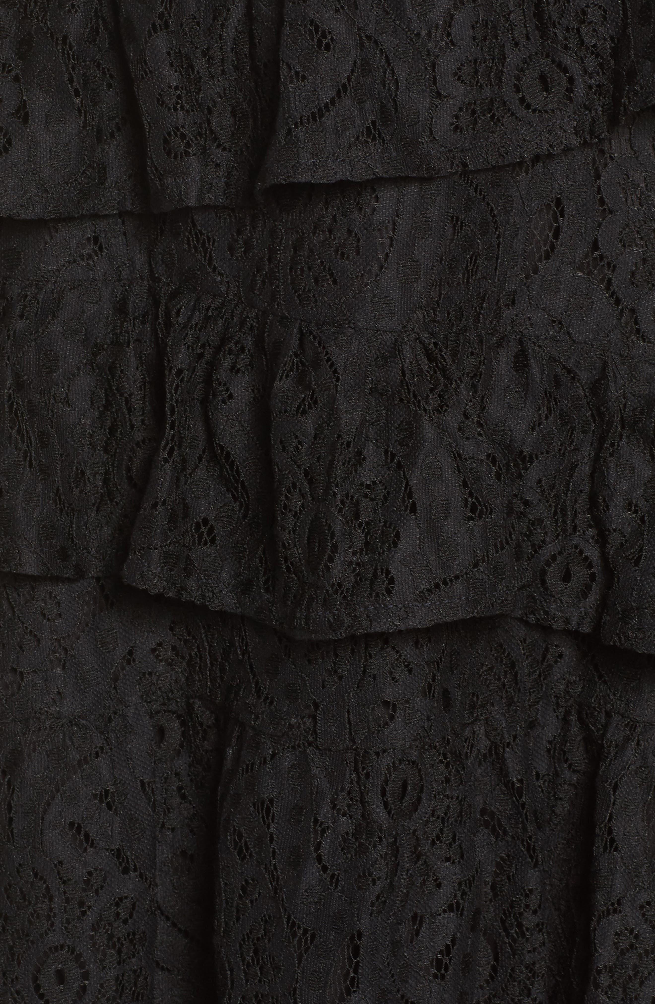 Ruffle Lace High/Low dress,                             Alternate thumbnail 6, color,                             BLACK