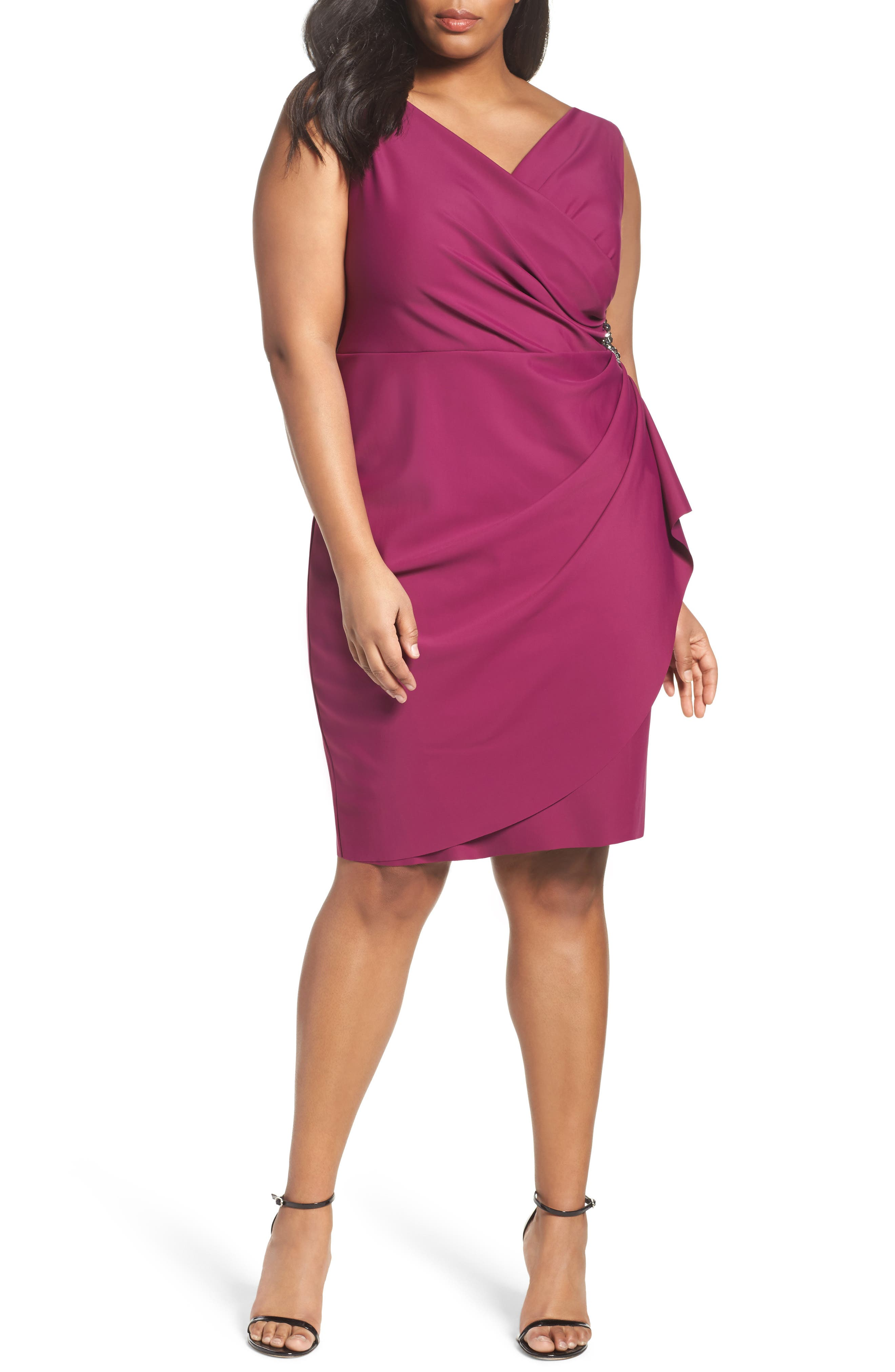 Embellished Surplice Sheath Dress,                             Main thumbnail 7, color,