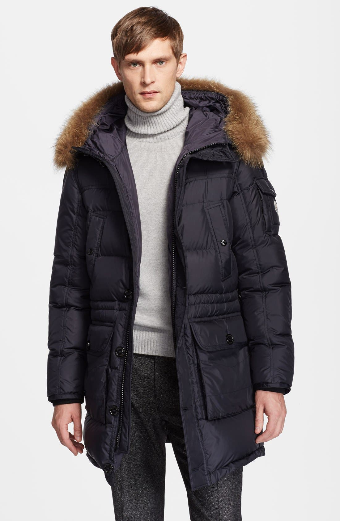 'Affton' Down Parka with Coyote Fur Hood, Main, color, 001