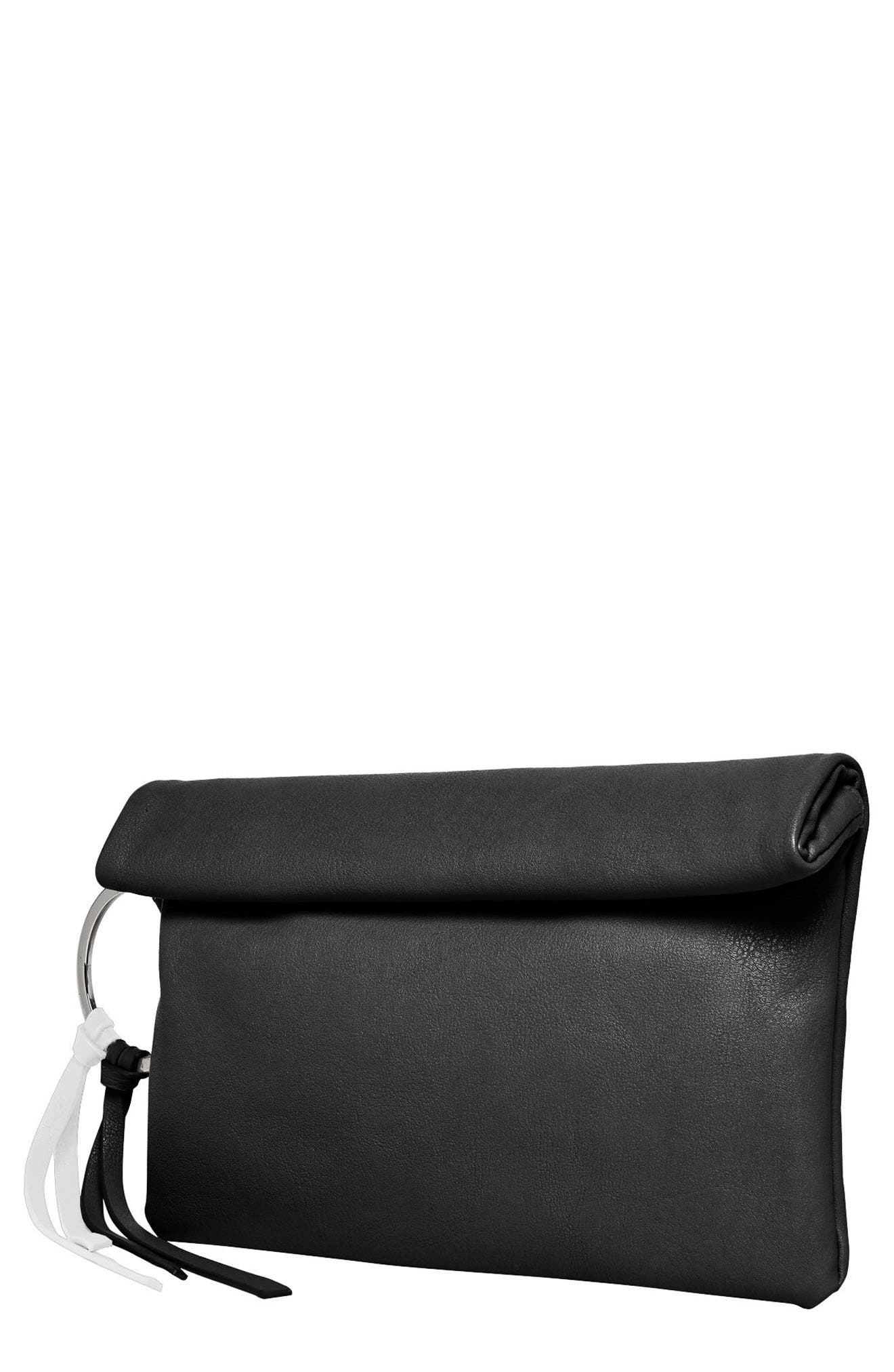 Lost Lover Vegan Leather Clutch,                             Main thumbnail 1, color,                             001