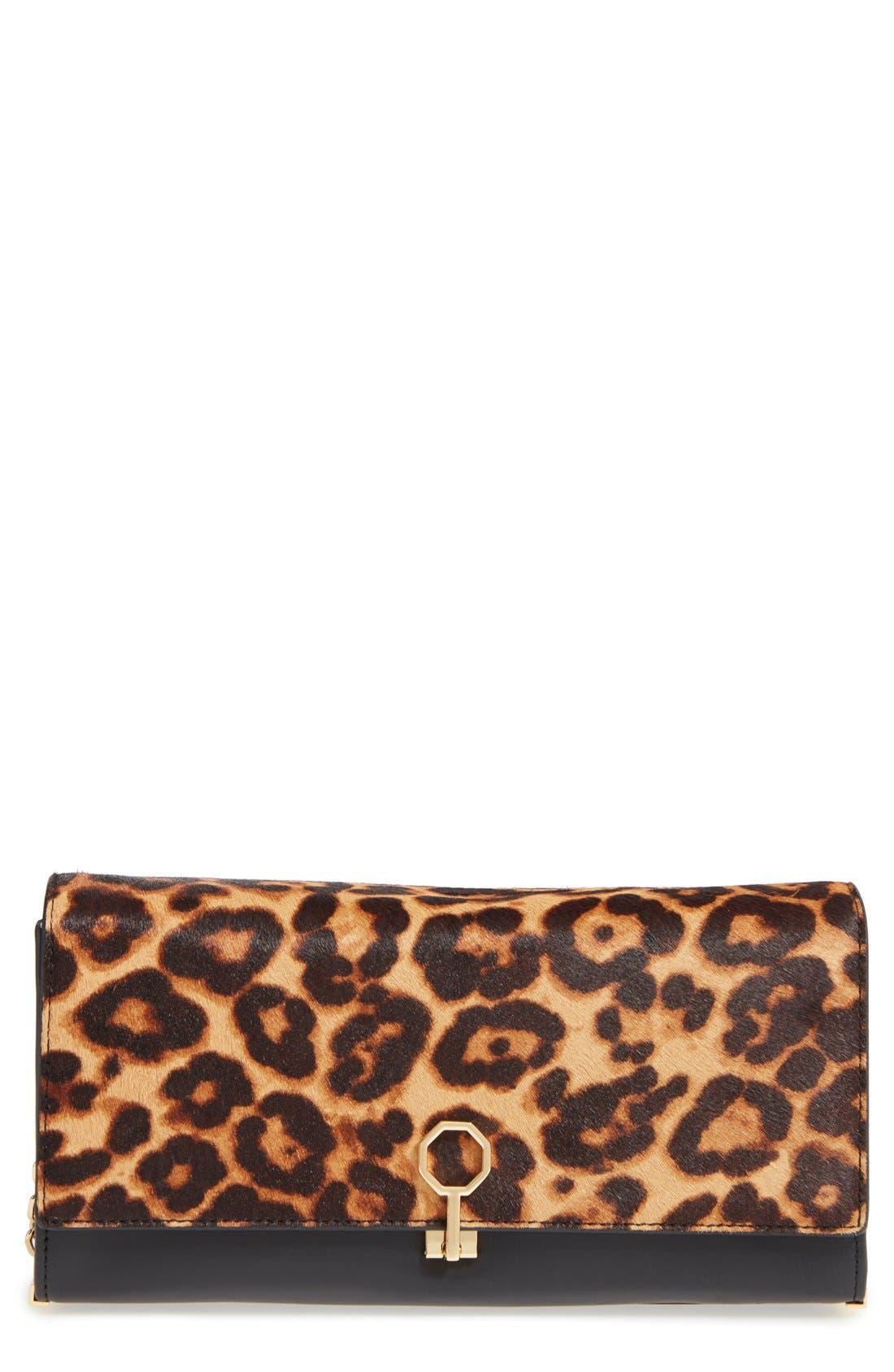 'Yvet' Leather & Genuine Calf Hair Clutch,                             Main thumbnail 1, color,                             200