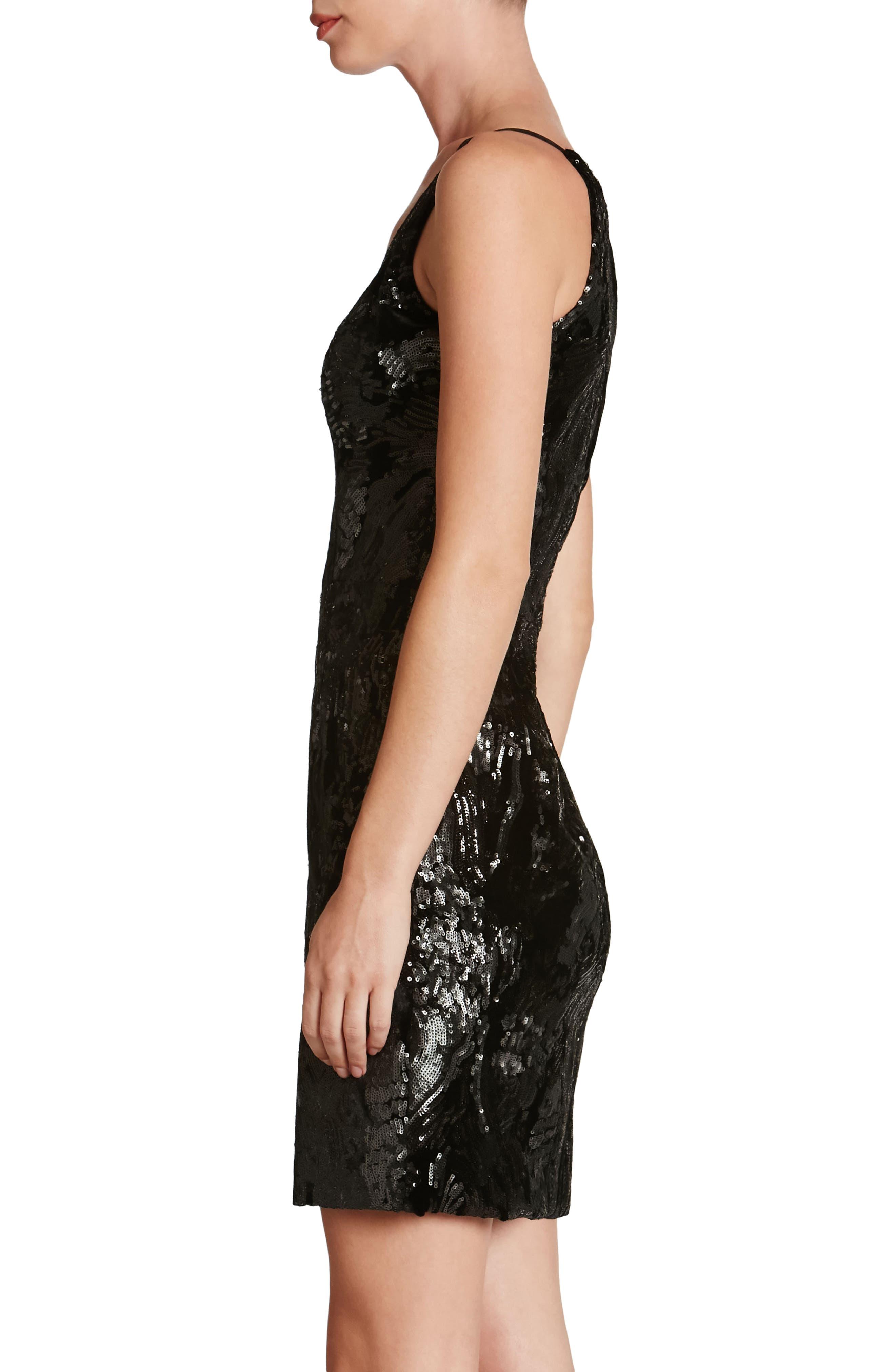 Jordyn Plunge Sequin Body-Con Dress,                             Alternate thumbnail 3, color,                             015