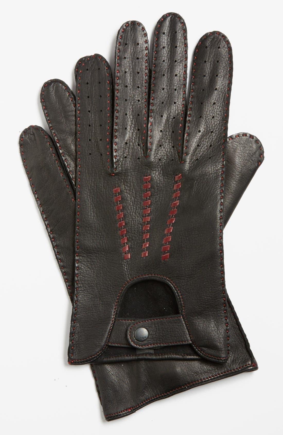 Deerskin Driving Gloves,                             Main thumbnail 1, color,                             001