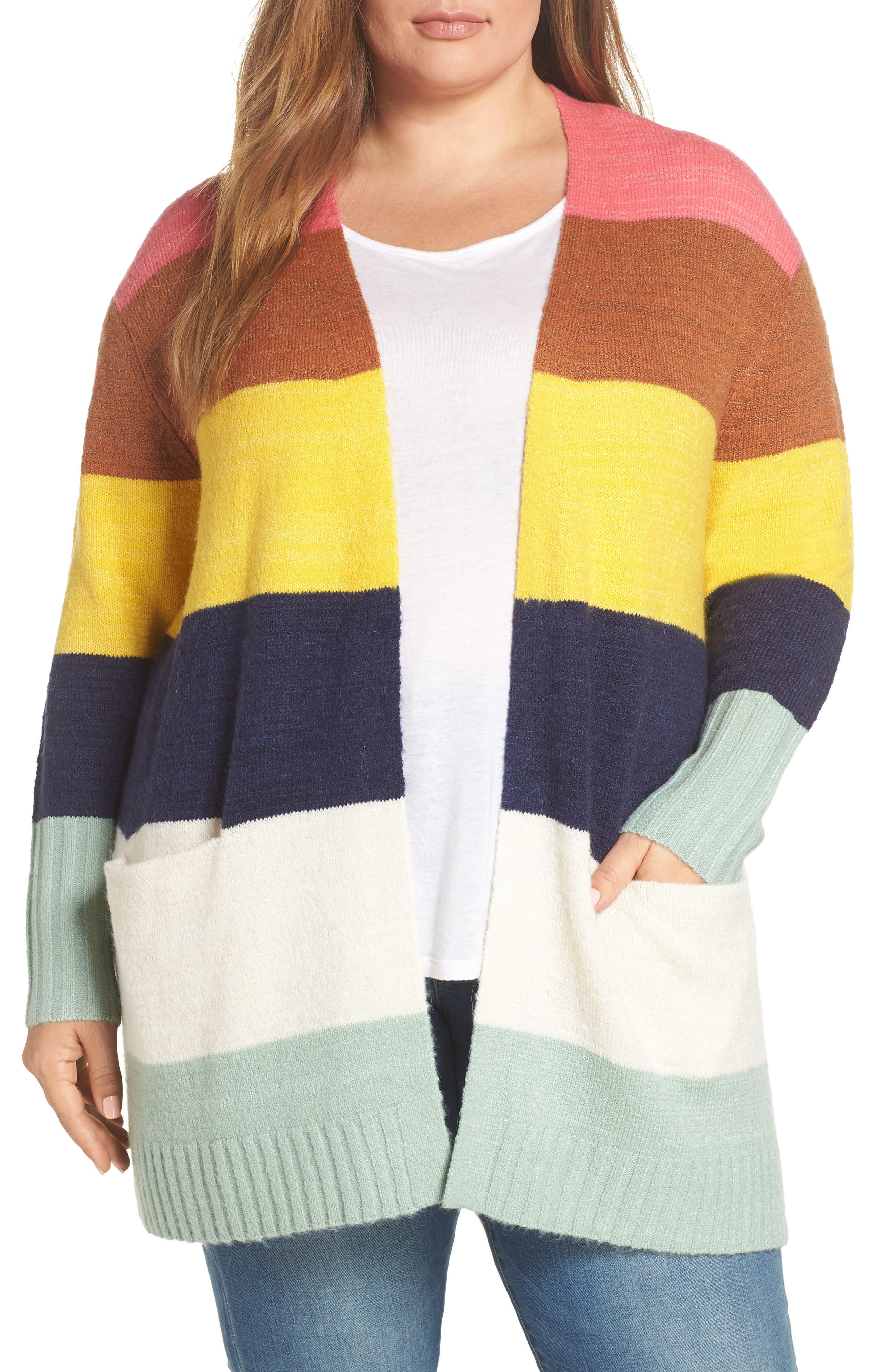 Plus Size Caslon Stripe Cardigan, Pink