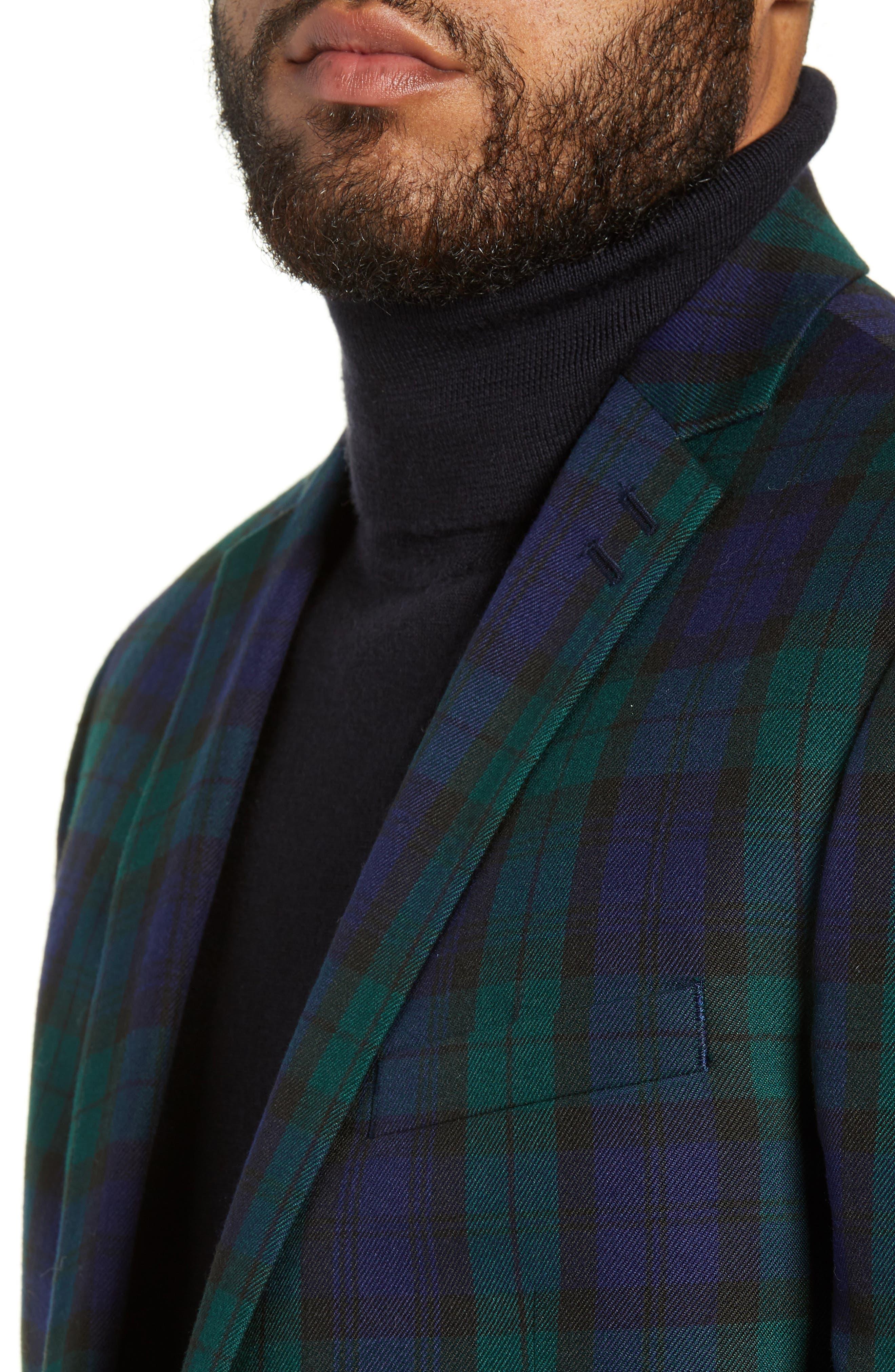 Plaid Slim Fit Suit Jacket,                             Alternate thumbnail 4, color,                             NAVY MULTI