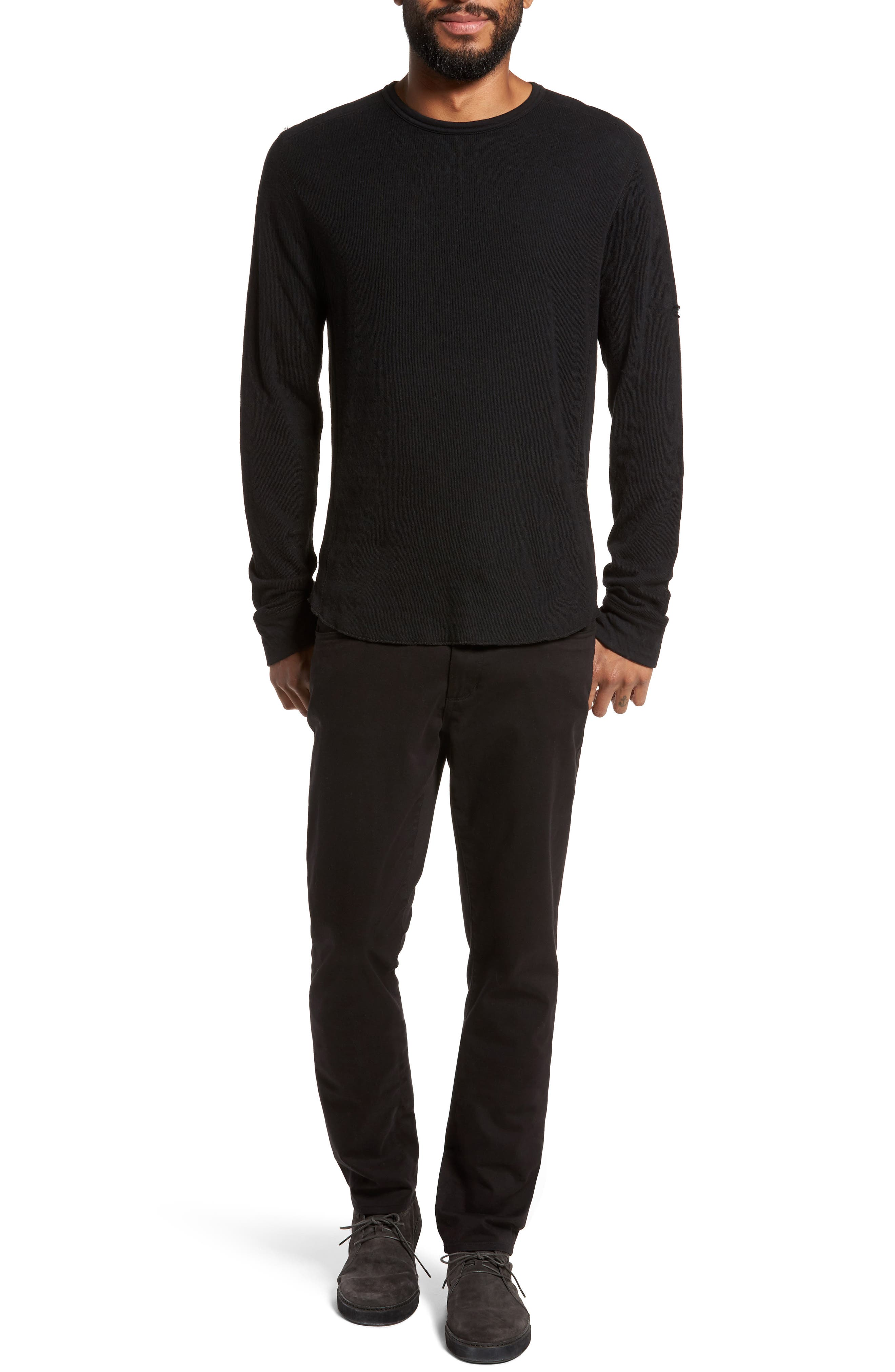 Double Knit Long Sleeve T-Shirt,                             Alternate thumbnail 7, color,                             BLACK
