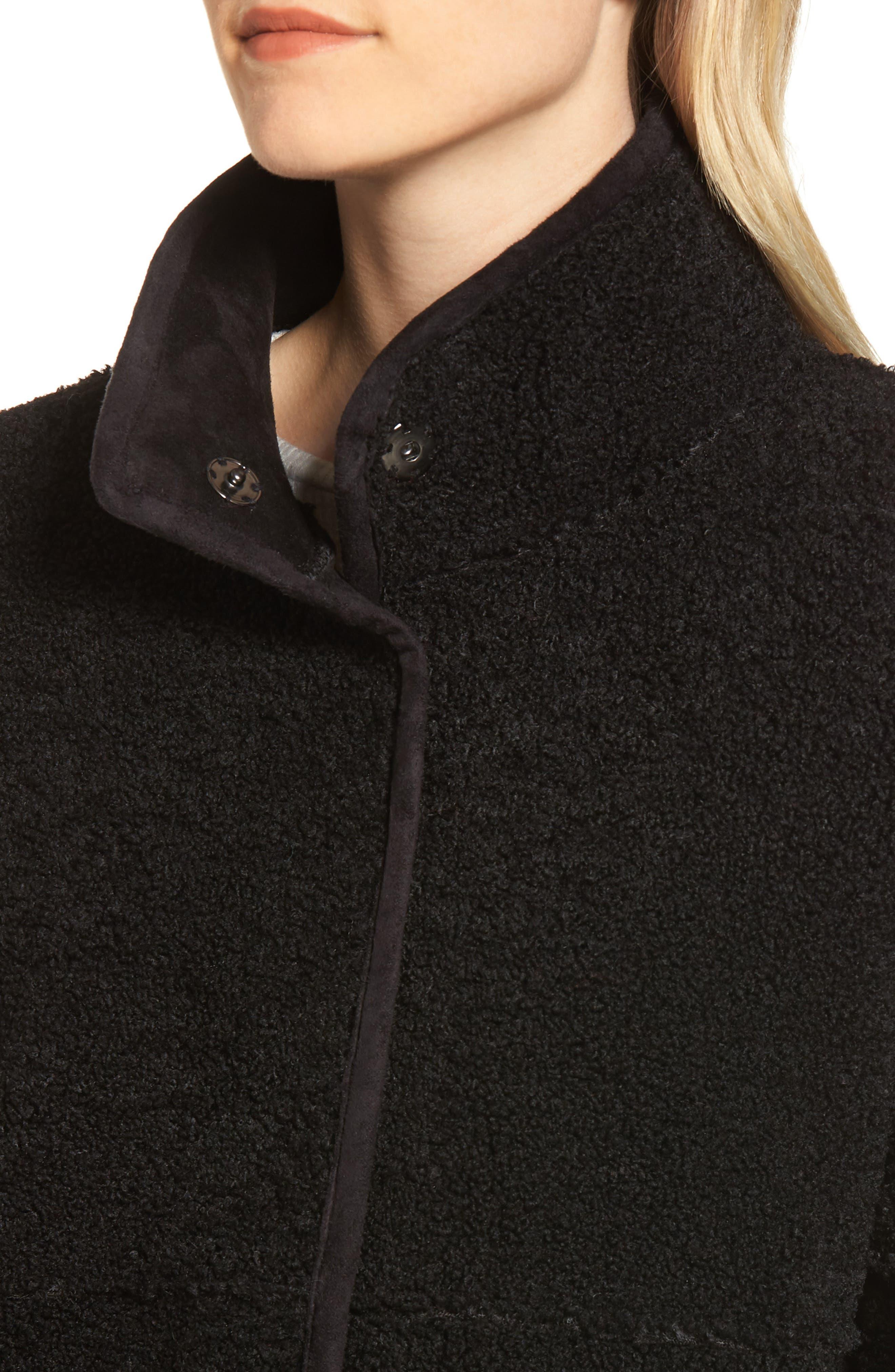 Reversible Lux Faux Shearling Coat,                             Alternate thumbnail 6, color,                             BLACK