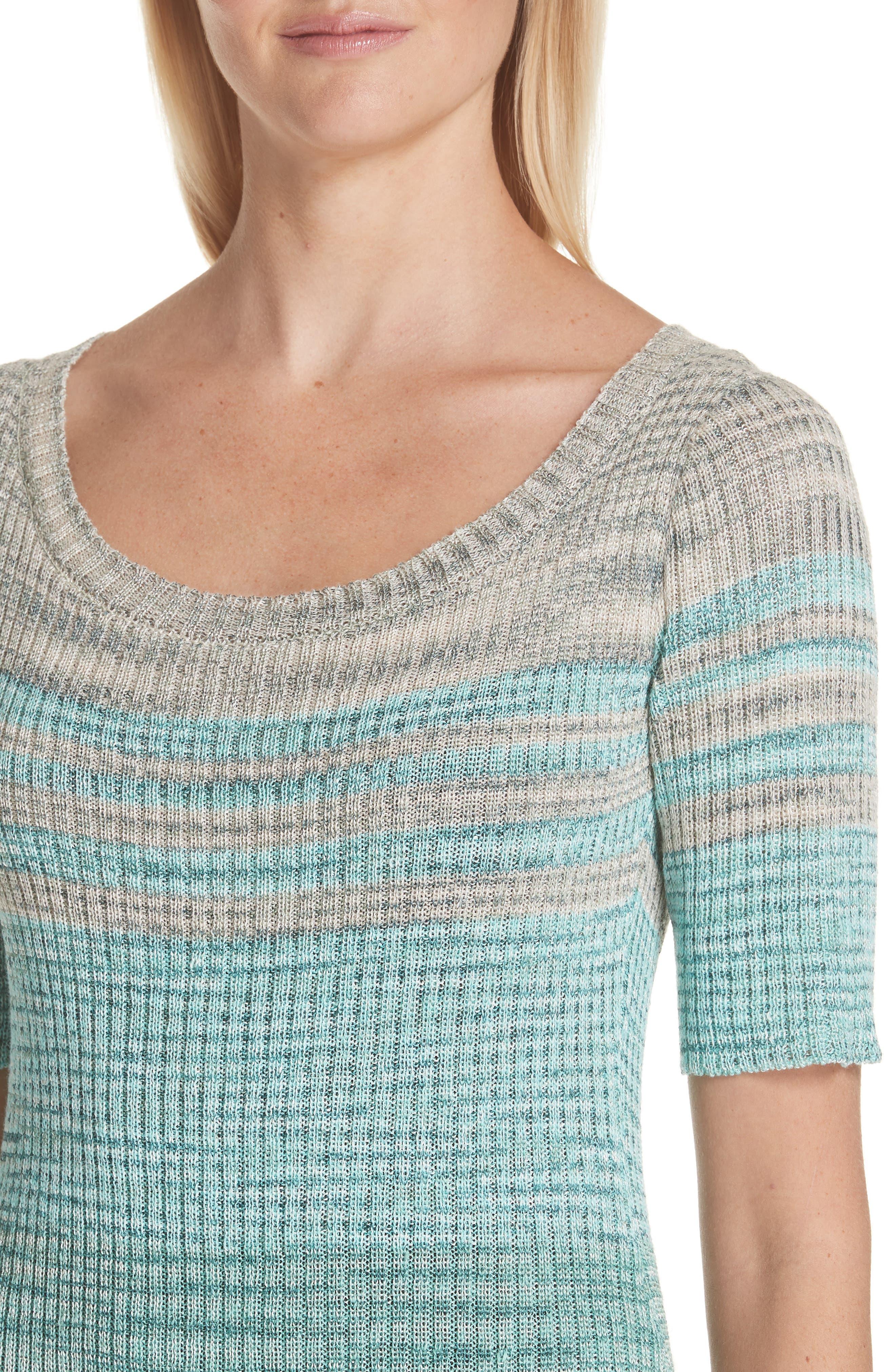 Boatneck Ribbed Dress,                             Alternate thumbnail 4, color,                             BLUE