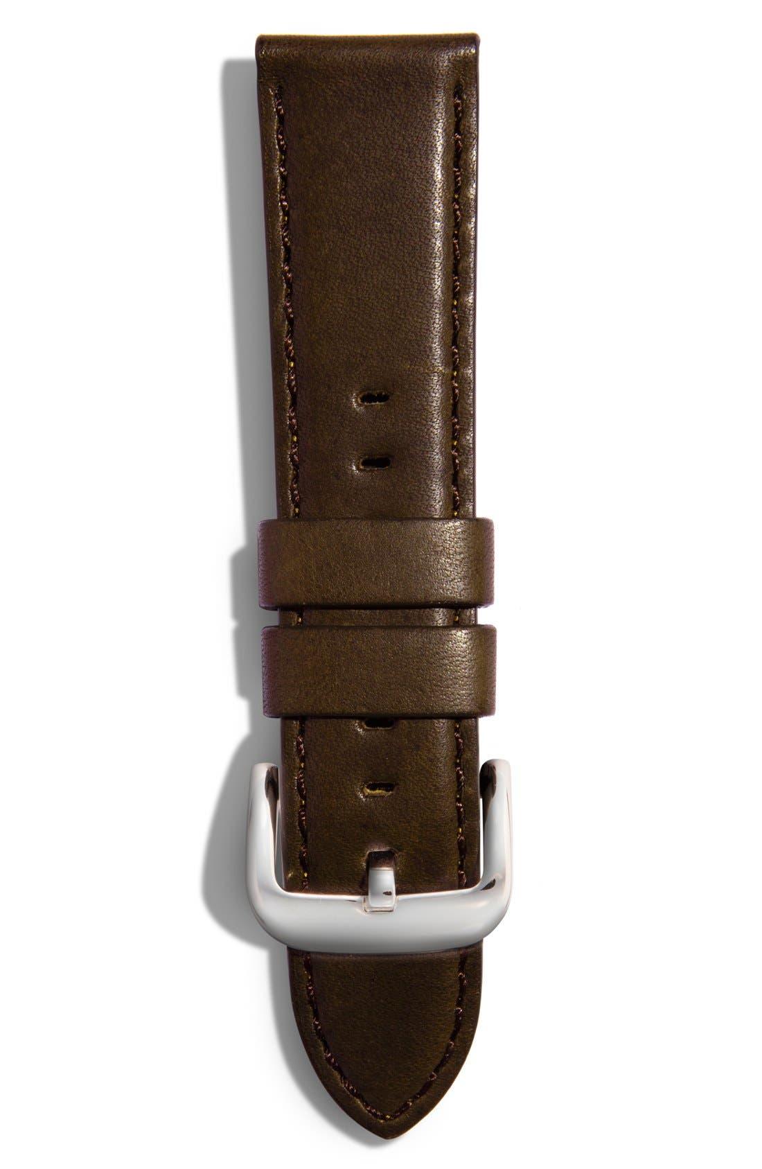 18mm Latigo Leather Strap,                             Main thumbnail 1, color,                             DARK BROWN