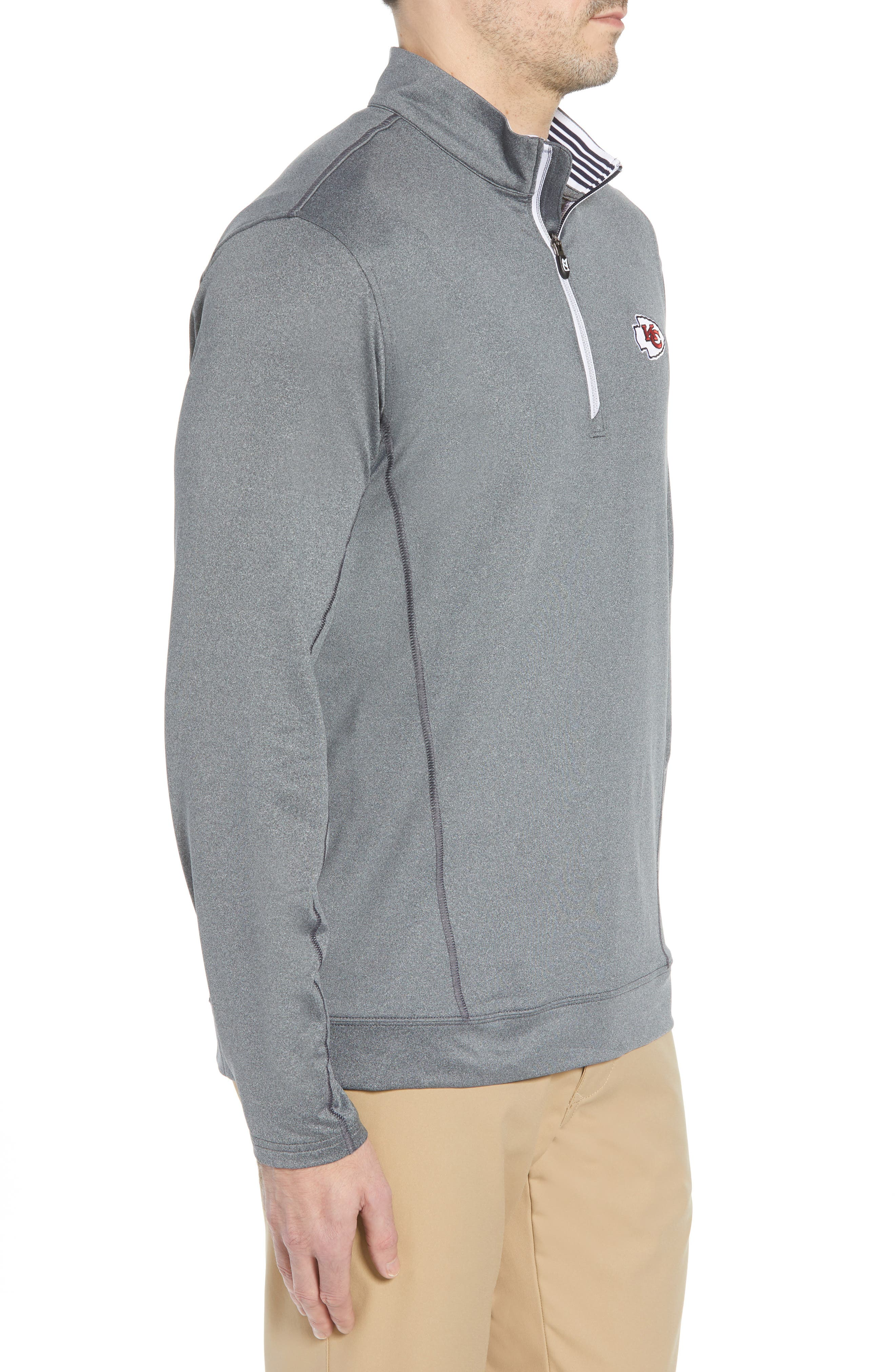 Endurance Kansas City Chiefs Regular Fit Pullover,                             Alternate thumbnail 3, color,                             CHARCOAL HEATHER