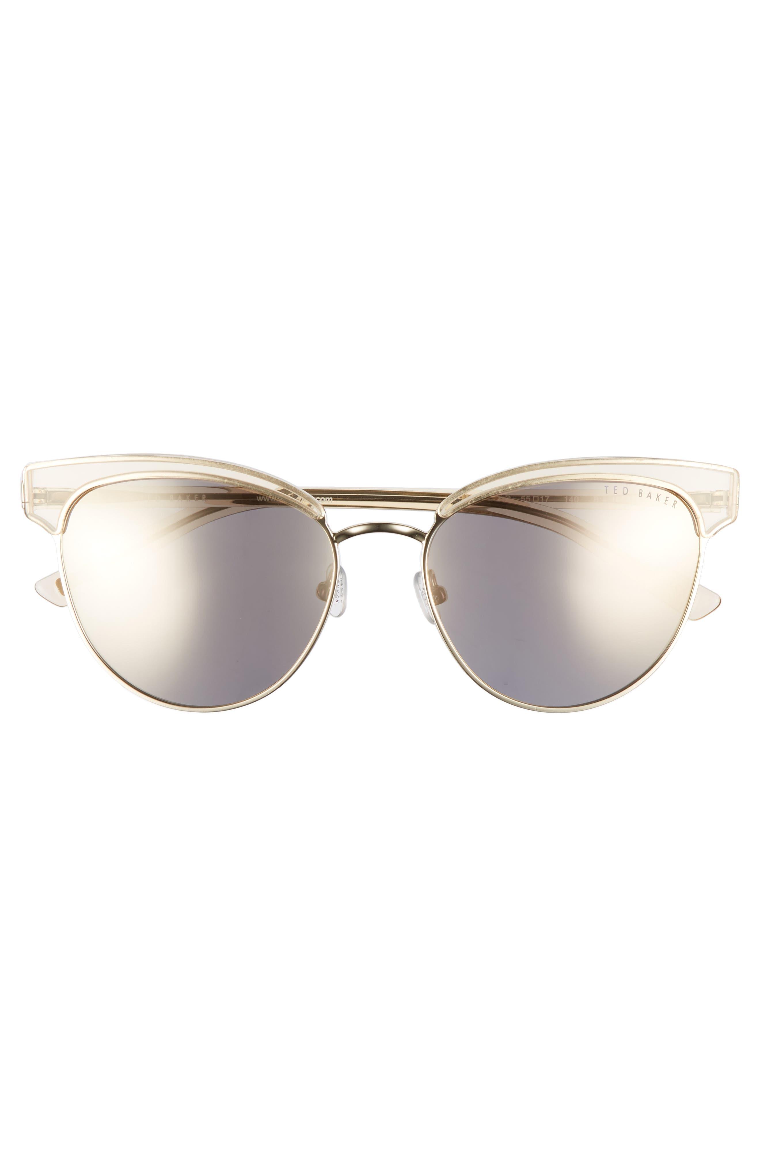 55mm Mirrored Semi Rimless Cat Eye Sunglasses,                             Alternate thumbnail 3, color,                             710
