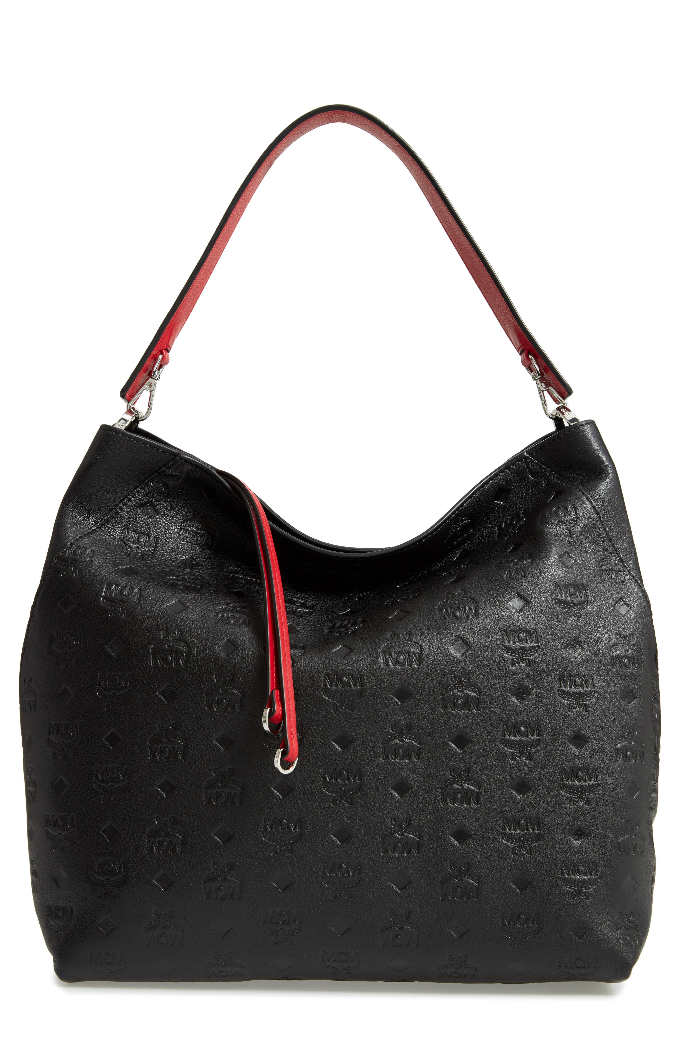 Klara Monogrammed Leather Hobo Bag,                             Main thumbnail 1, color,                             001