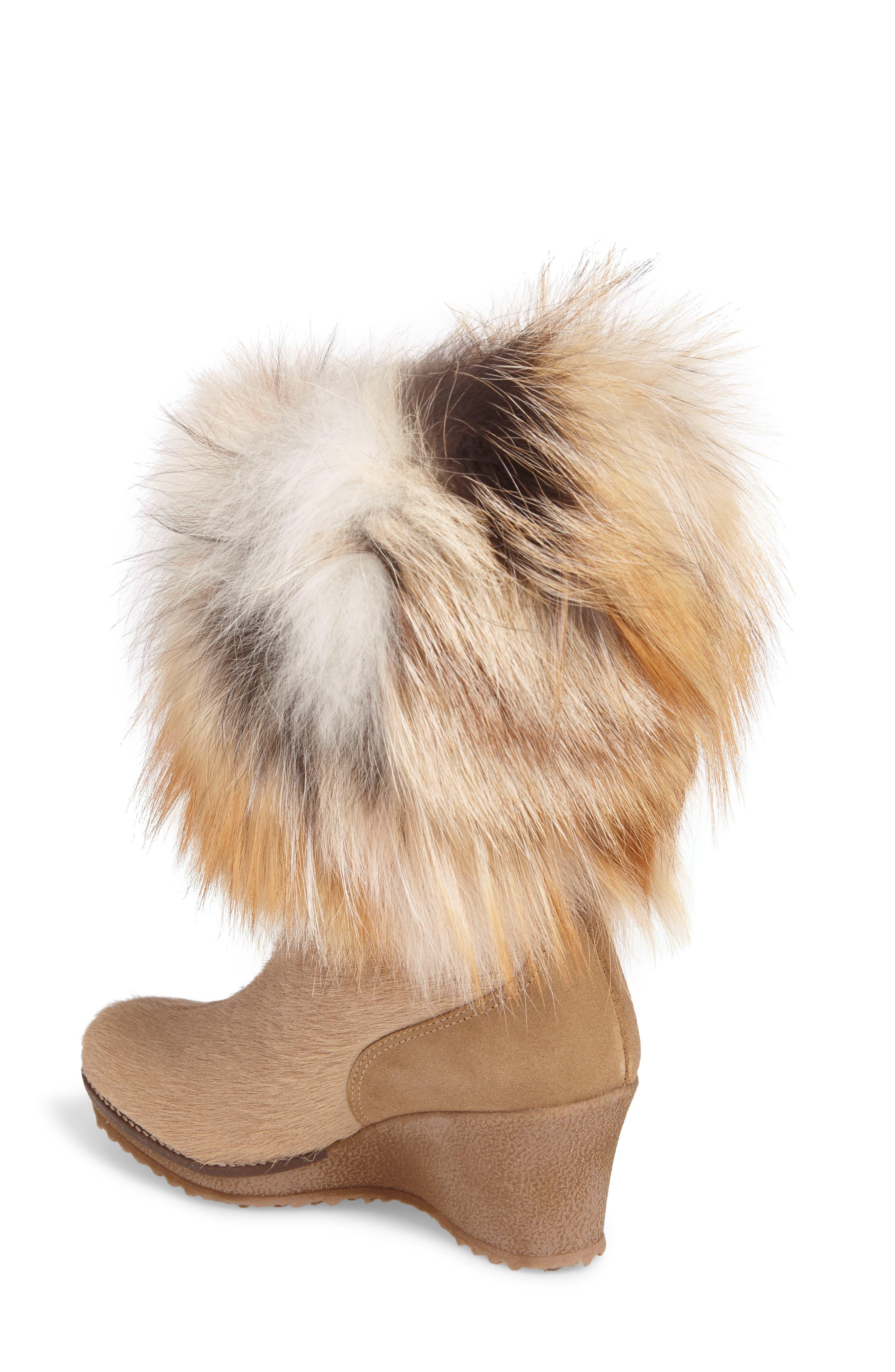 Angelina Genuine Fox Fur Wedge Boot,                             Alternate thumbnail 8, color,