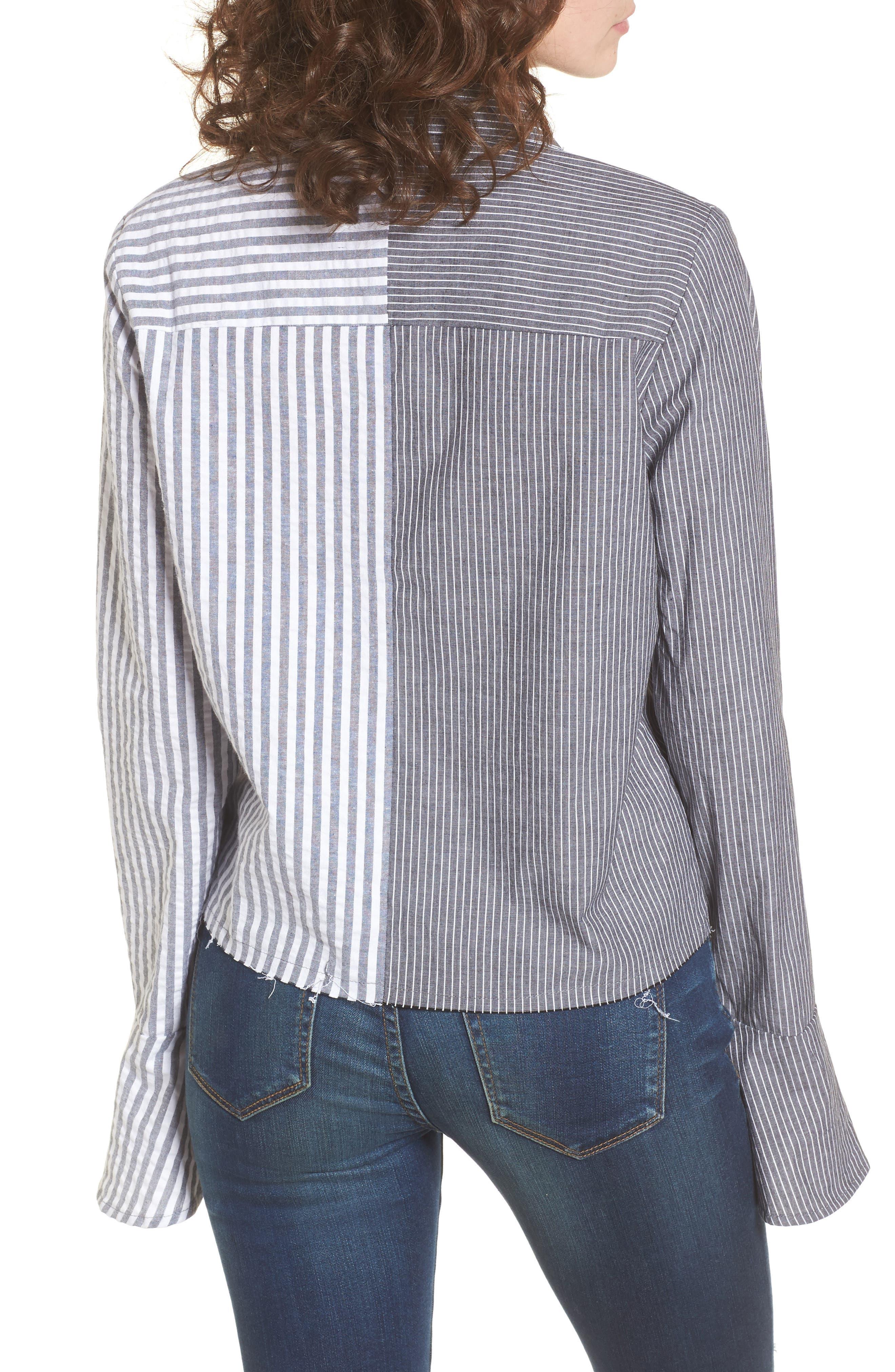 Mismatch Stripe Shirt,                             Alternate thumbnail 2, color,                             020